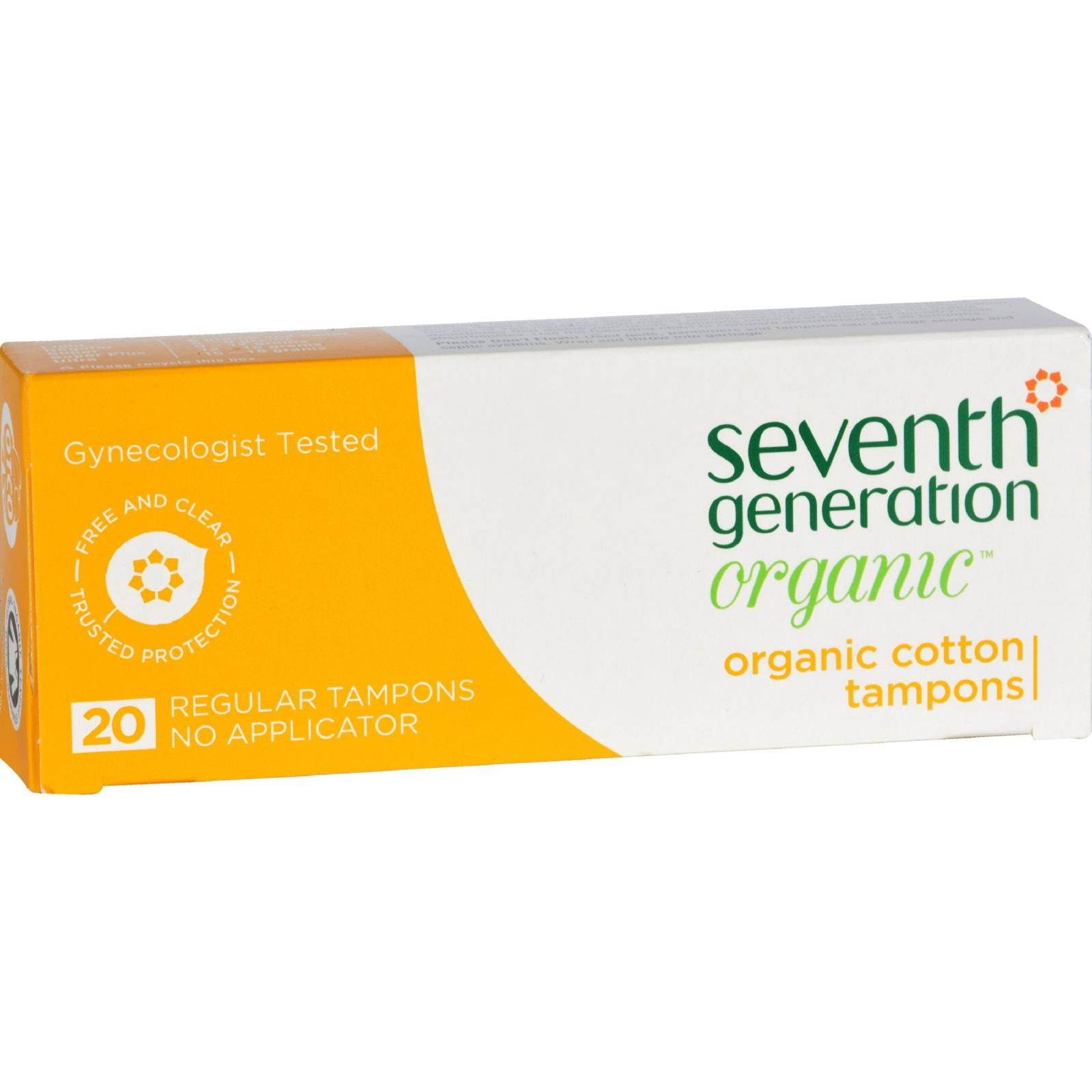 Seventh Generation Tampon - Organic - Regular - No Applicator - 20 Count