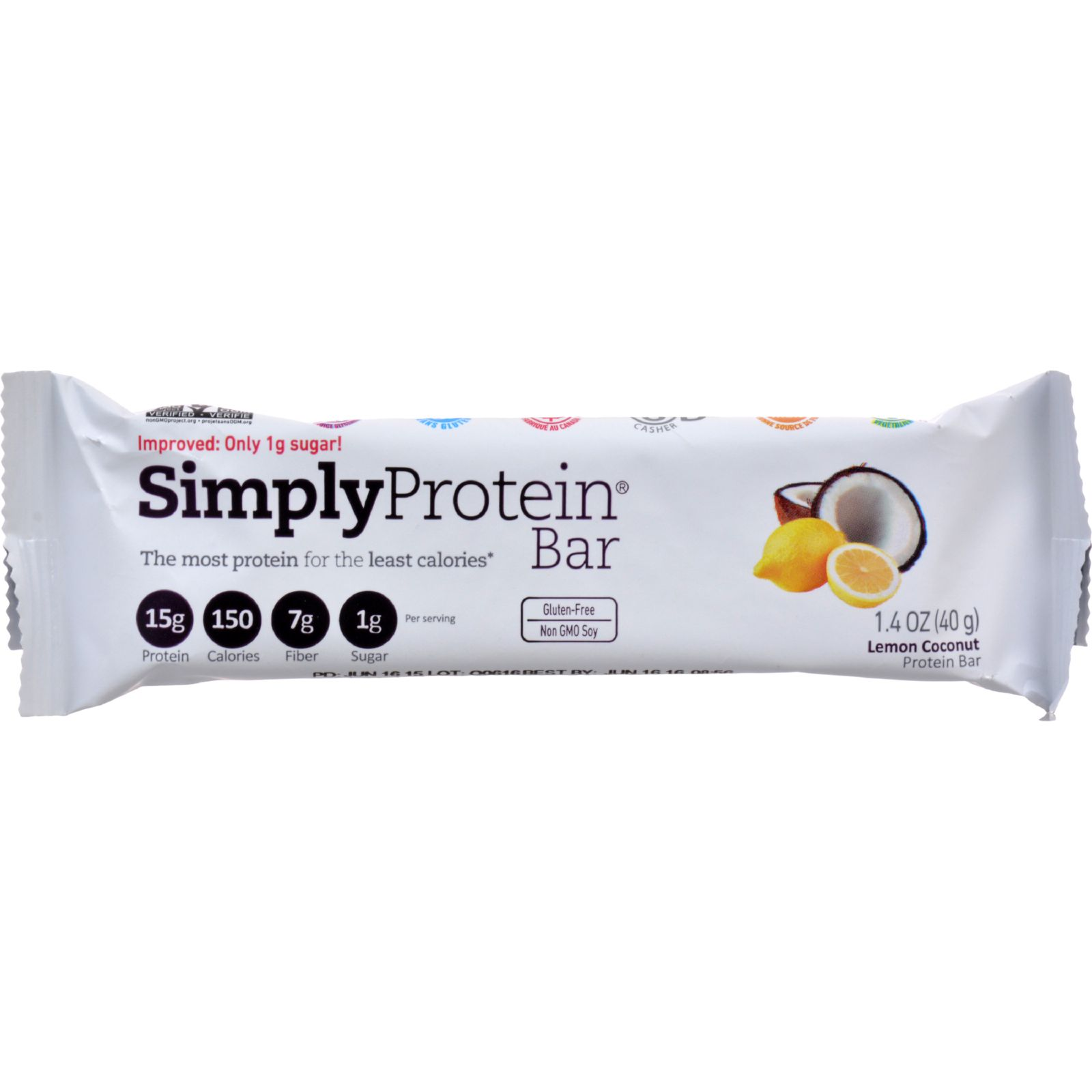 Simplyprotein Protein Bar - Lemon Cconut - 1.41 Oz - Case Of 12
