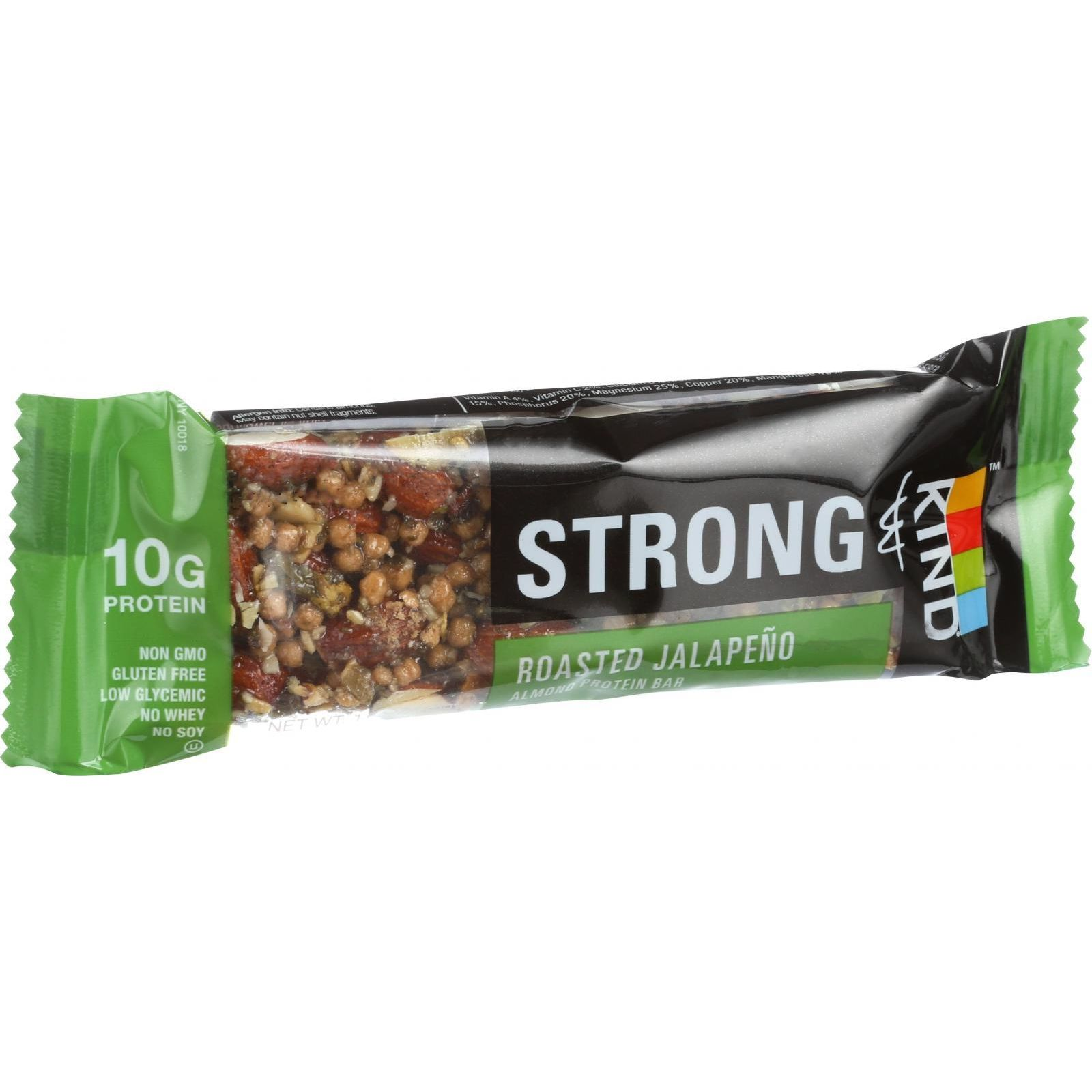 Strong And Kind Bar - Roasted Jalapeno Almond - 1.6 Oz Bars - Case Of 12