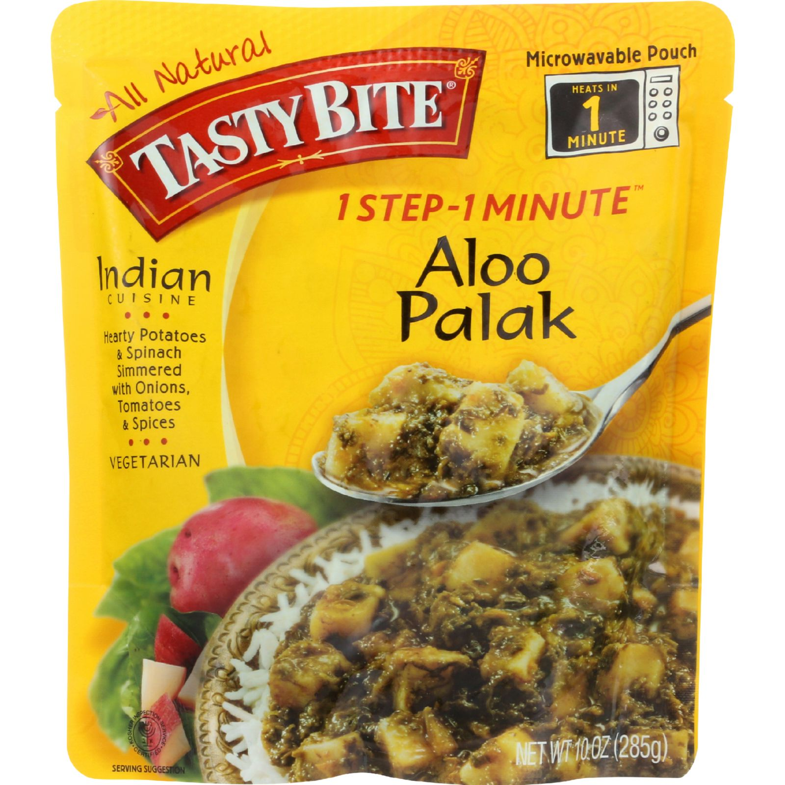 Tasty Bite Entree - Indian Cuisine - Aloo Palak - 10 Oz - Case Of 6