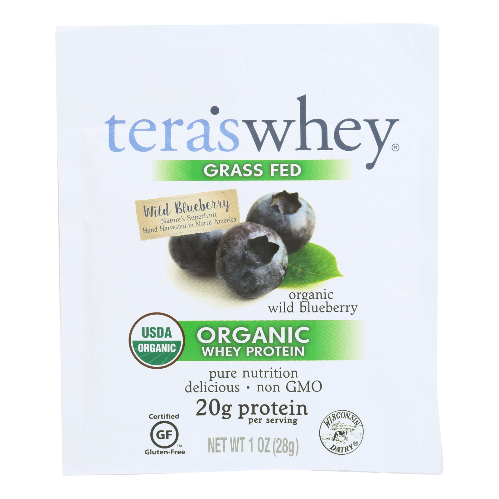 Teras Whey Protein Powder - Whey - Organic - Wild Blueberry - 1 Oz - Case Of 12