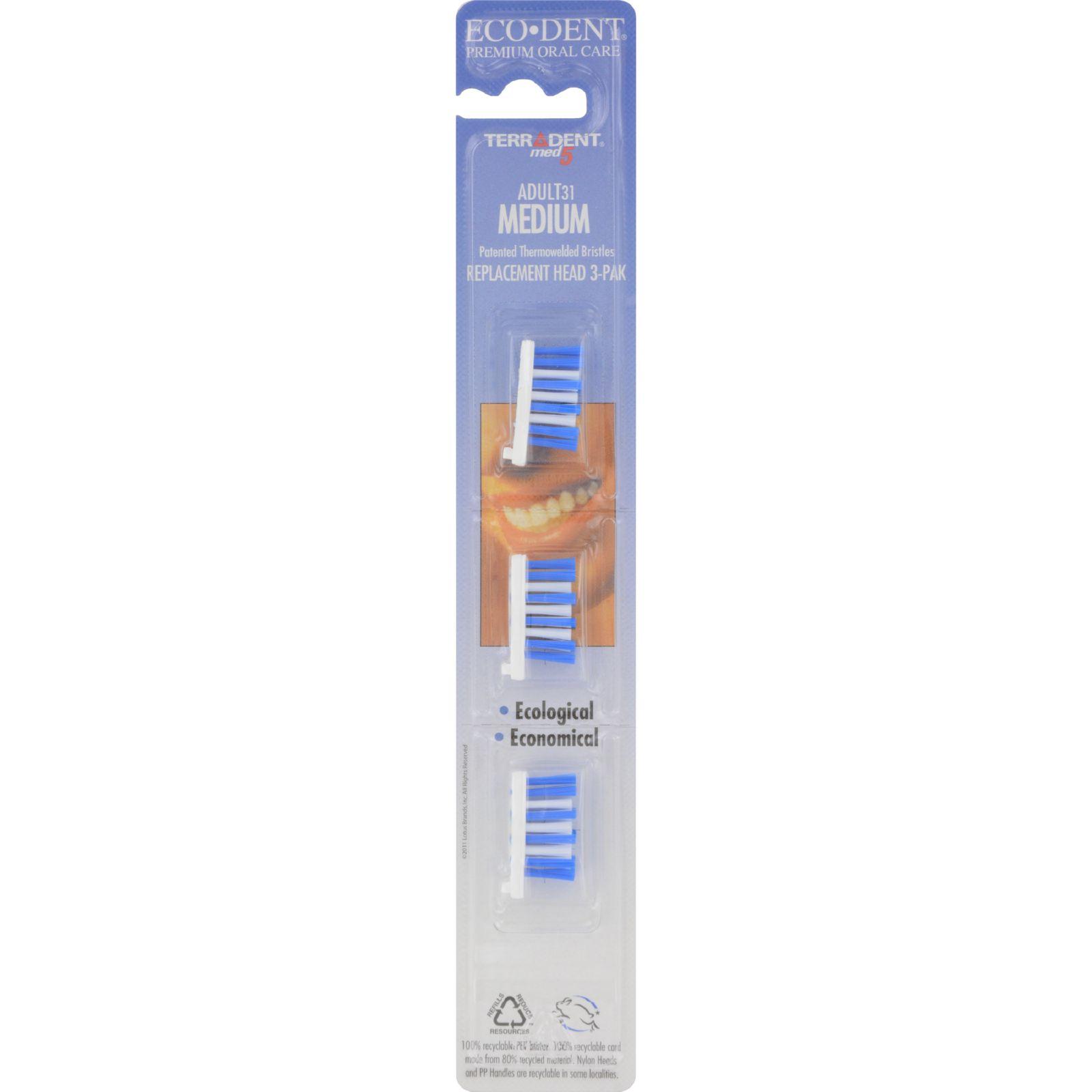 Terradent 31 Toothbrush Head Refill Medium - 3 Refills - Case Of 6