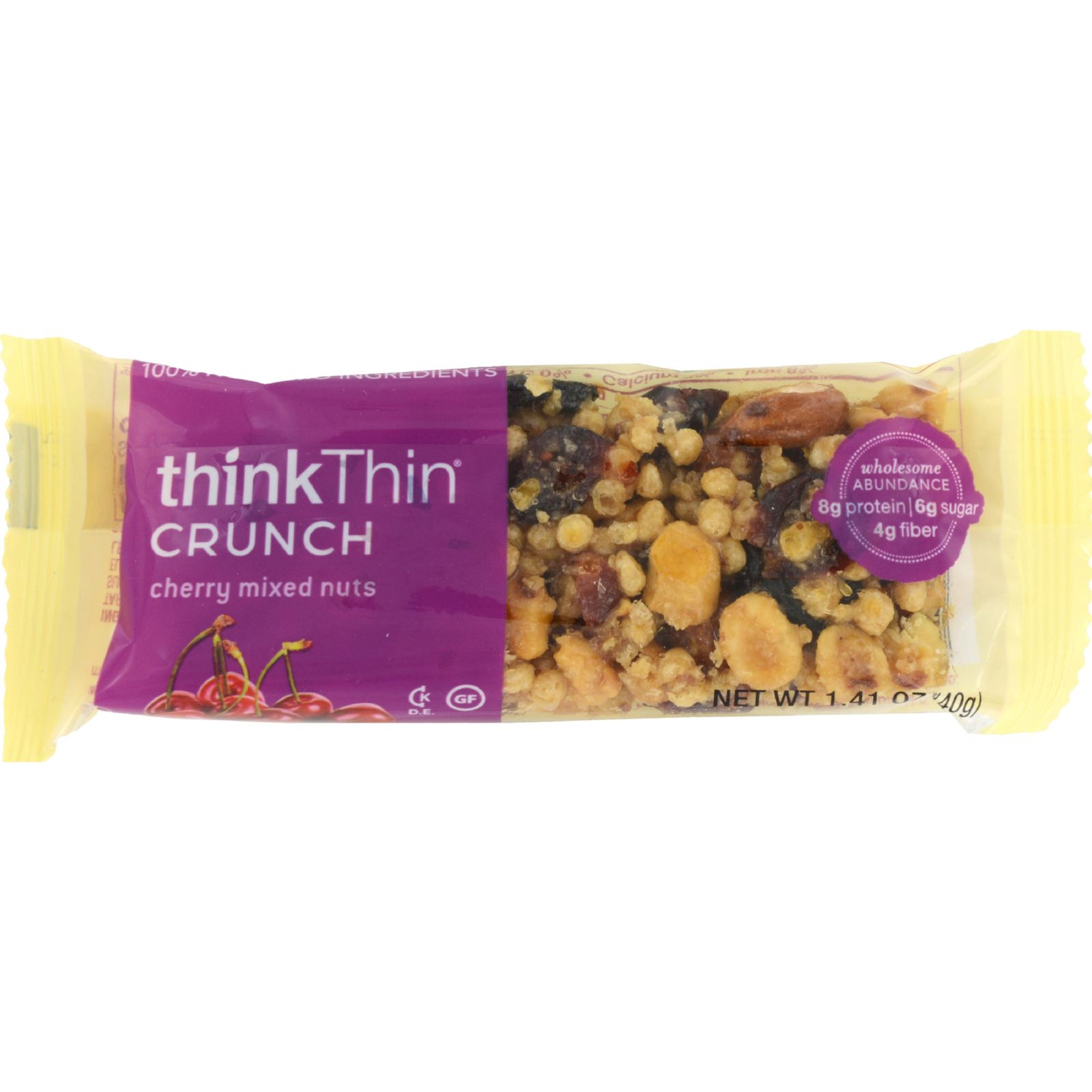 Think Products thinkThin Crunch Bar - Crunch Cherry Mixed Nuts - 1.41 oz - Case of 10