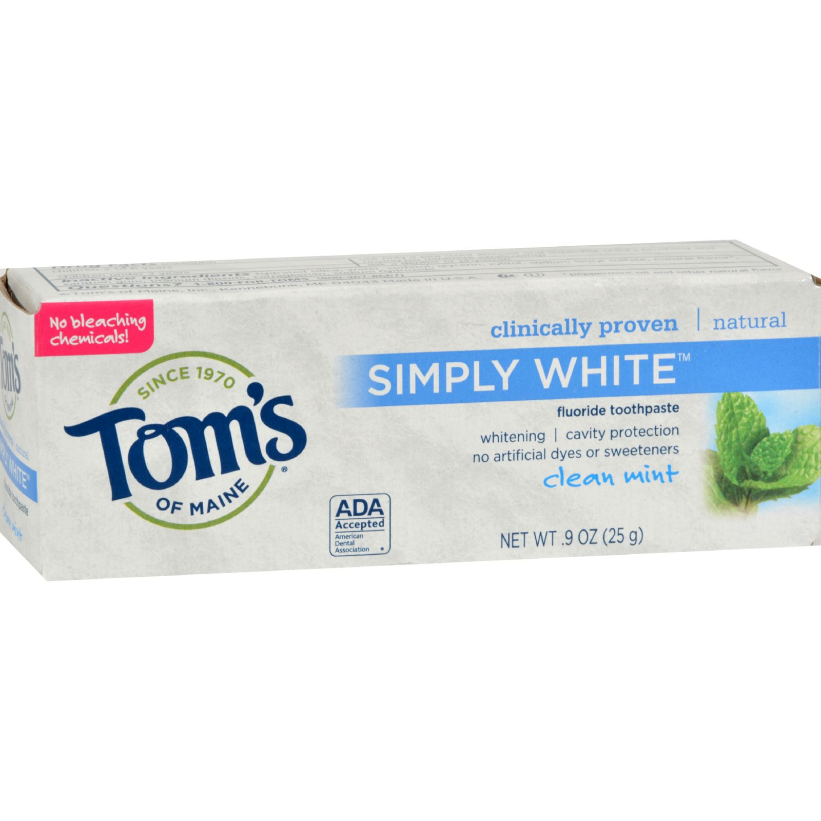 Tom's Of Maine Toothpaste - Clean Mint Simply White Trial Size - .9 Oz - Case Of 12