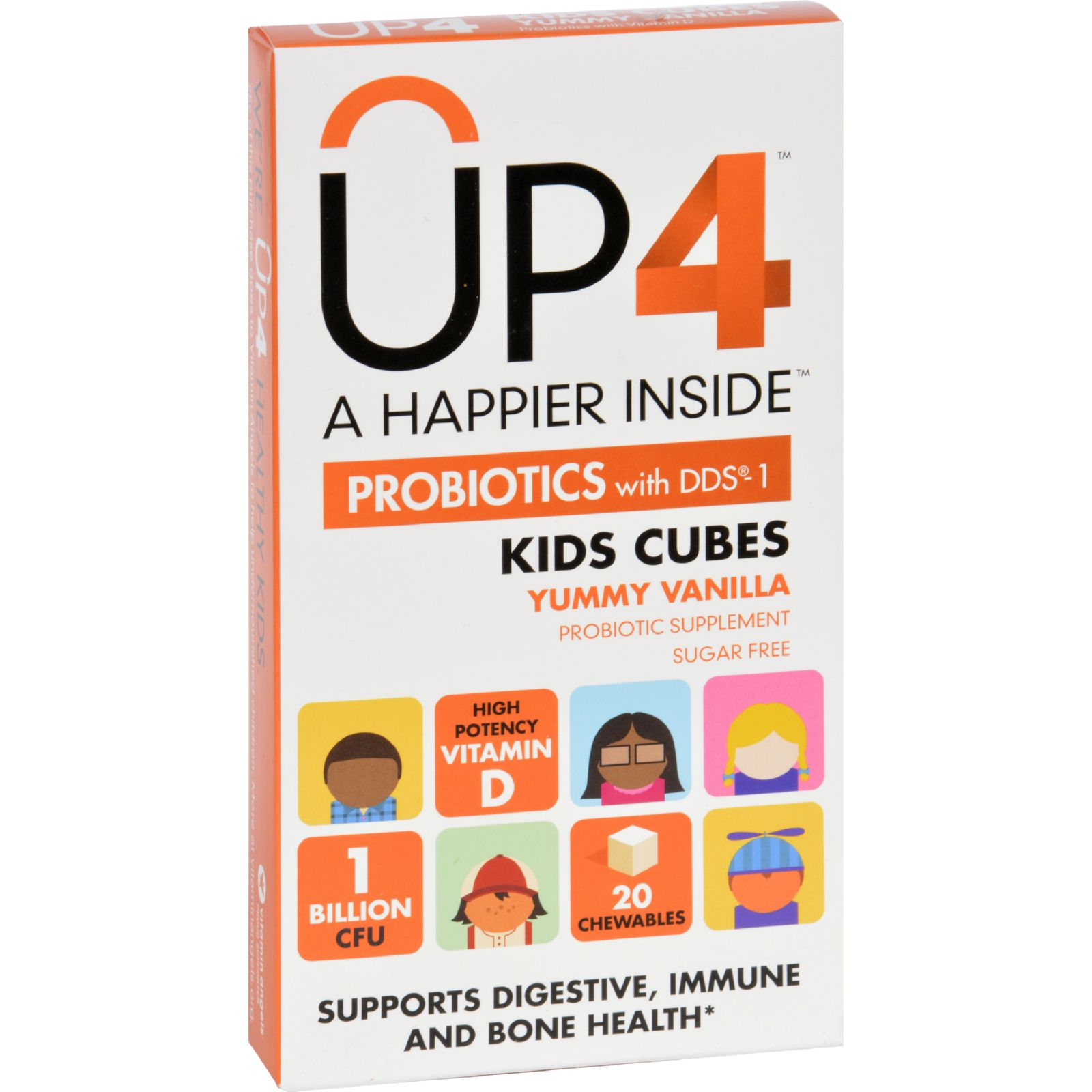 Up4 Probiotics Probiotic Supplement - Kids Cubes - Yummy Vanilla - 20 Chews - Case of 8