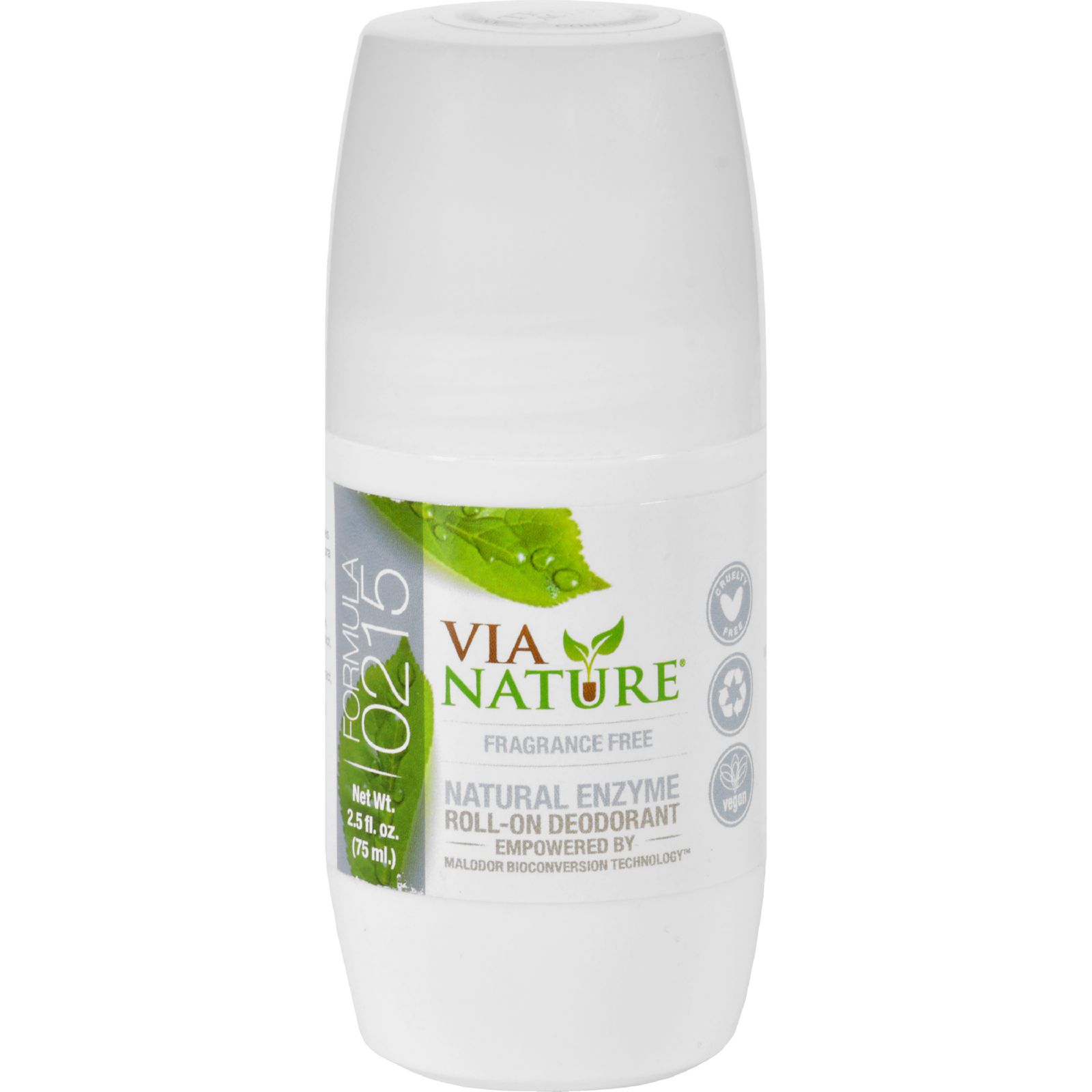Via Nature Deodorant - Roll On - Frangrance Free - 2.5 Fl Oz