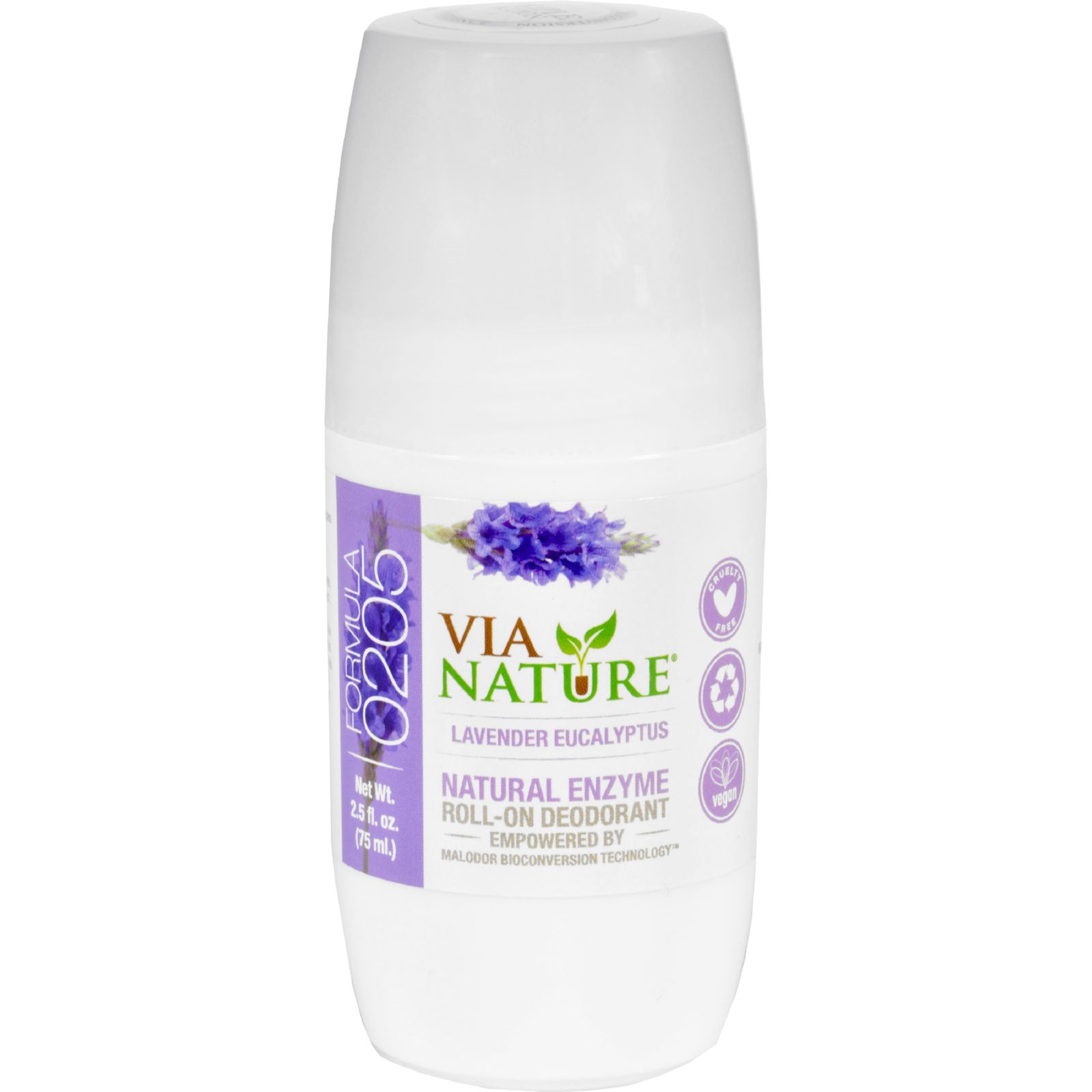 Via Nature Deodorant - Roll On - Lavender Eucalyptus - 2.5 Fl Oz
