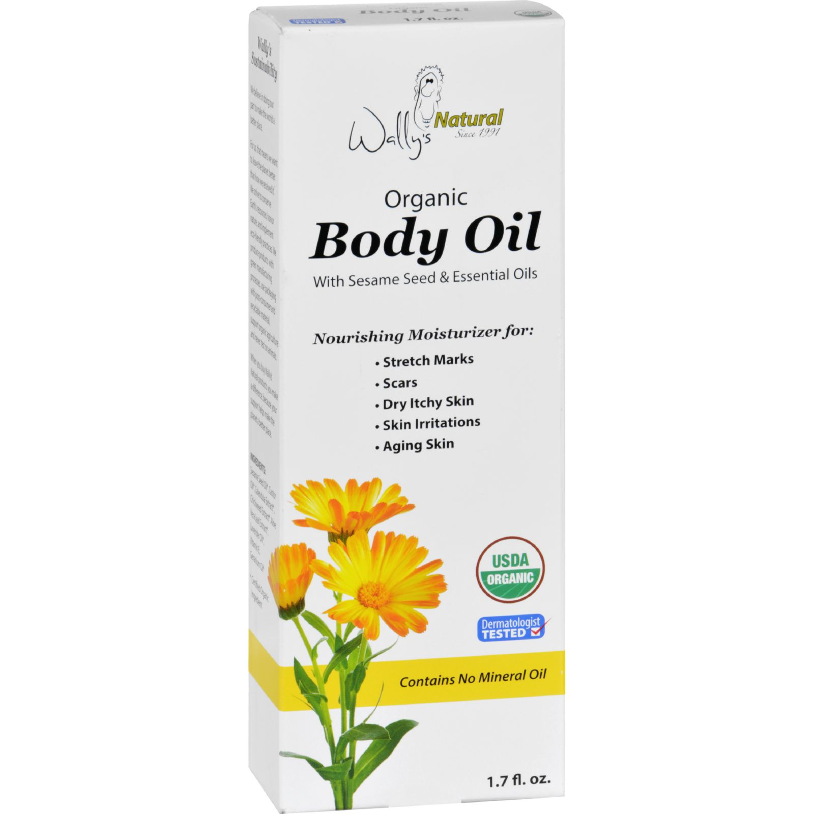 Wallys Natural Products Body Oil - Organic - 1.7 oz