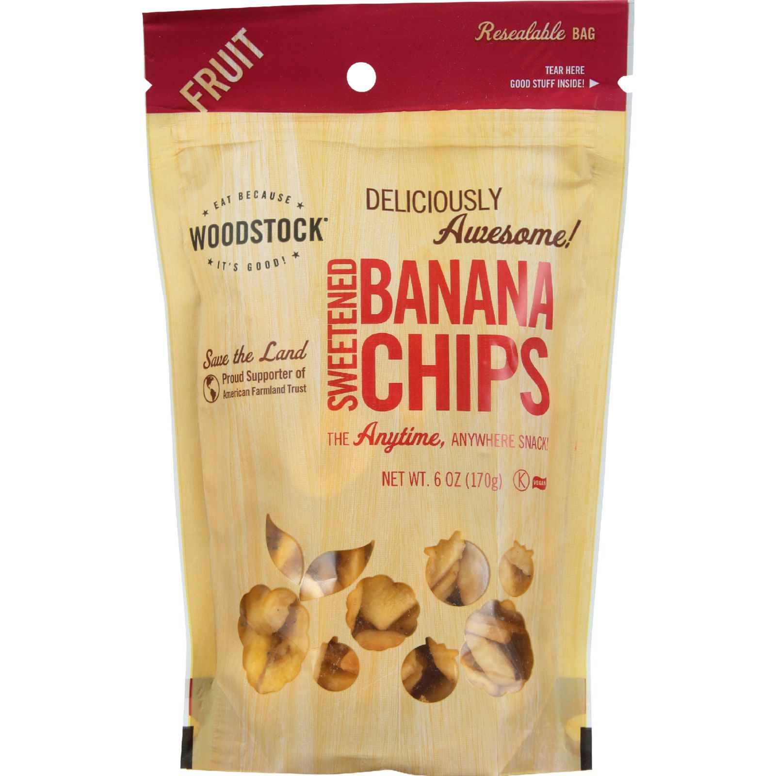 Woodstock Fruit - All Natural - Banana Chips - Sweetened - 6 oz - case of 8