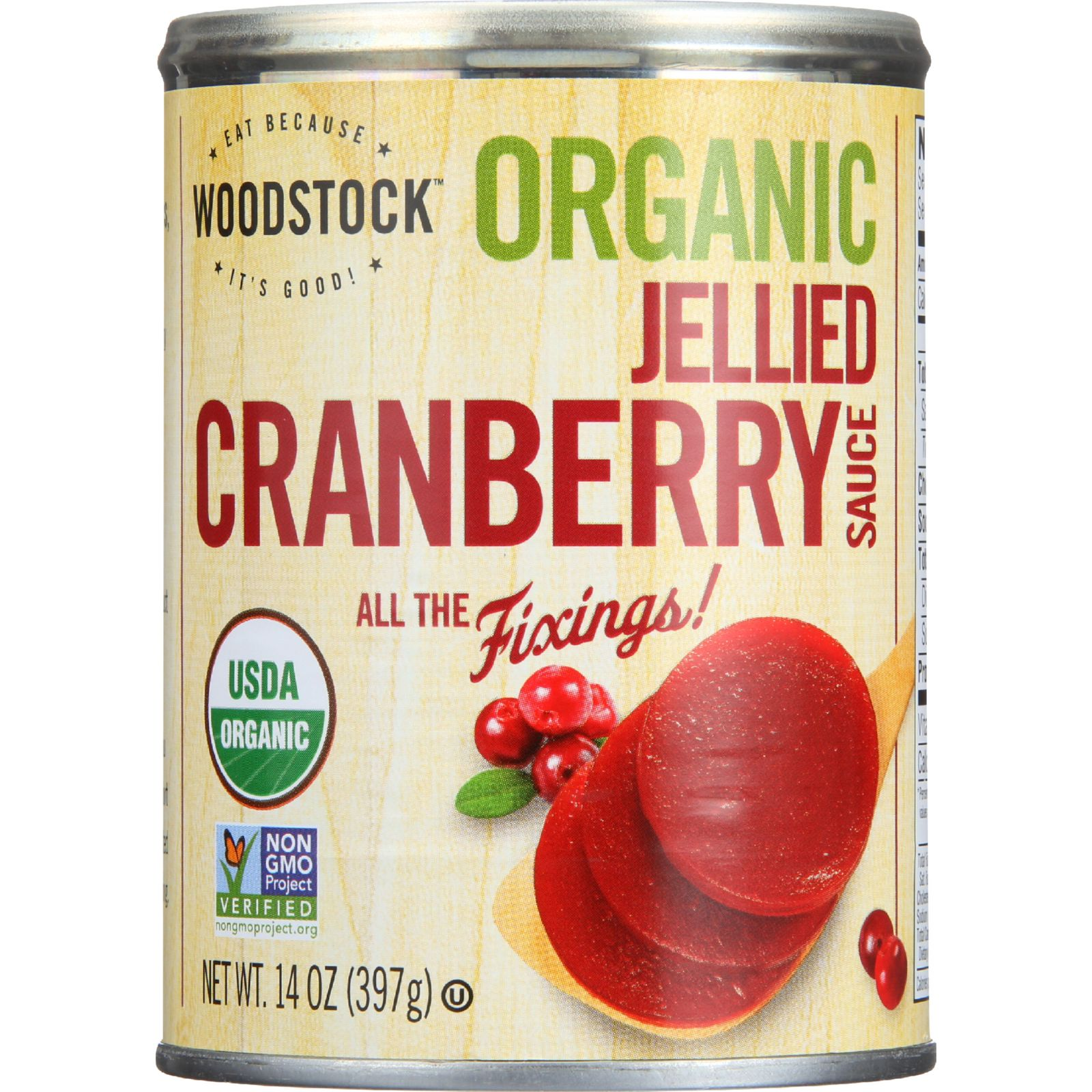 Woodstock Cranberry Sauce - Organic - Jellied - 14 Oz - Case Of 24