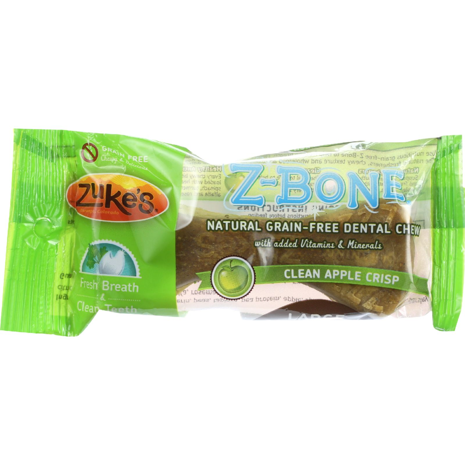 Zukes Counter Display - Dental Chews - Z-bones - Clean Apple Crisp - Large Dogs - 2.5 Oz - Case Of 18