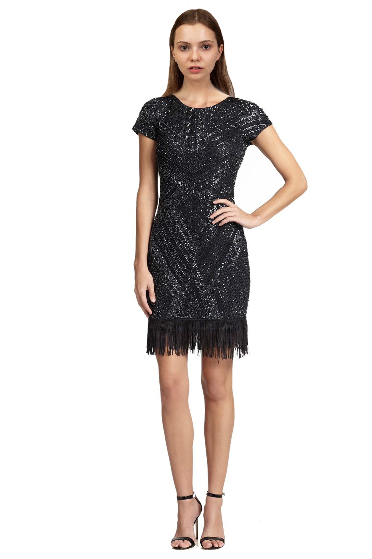 Aidan Mattox Slate Beaded Fringe Trim Cap Sleeve Cocktail Dress 6 ...