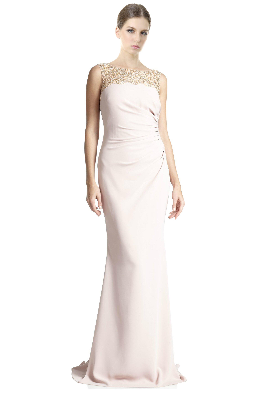 Badgley Mischka Blush Pink Beaded Yoke Ruched Column Evening Gown ...