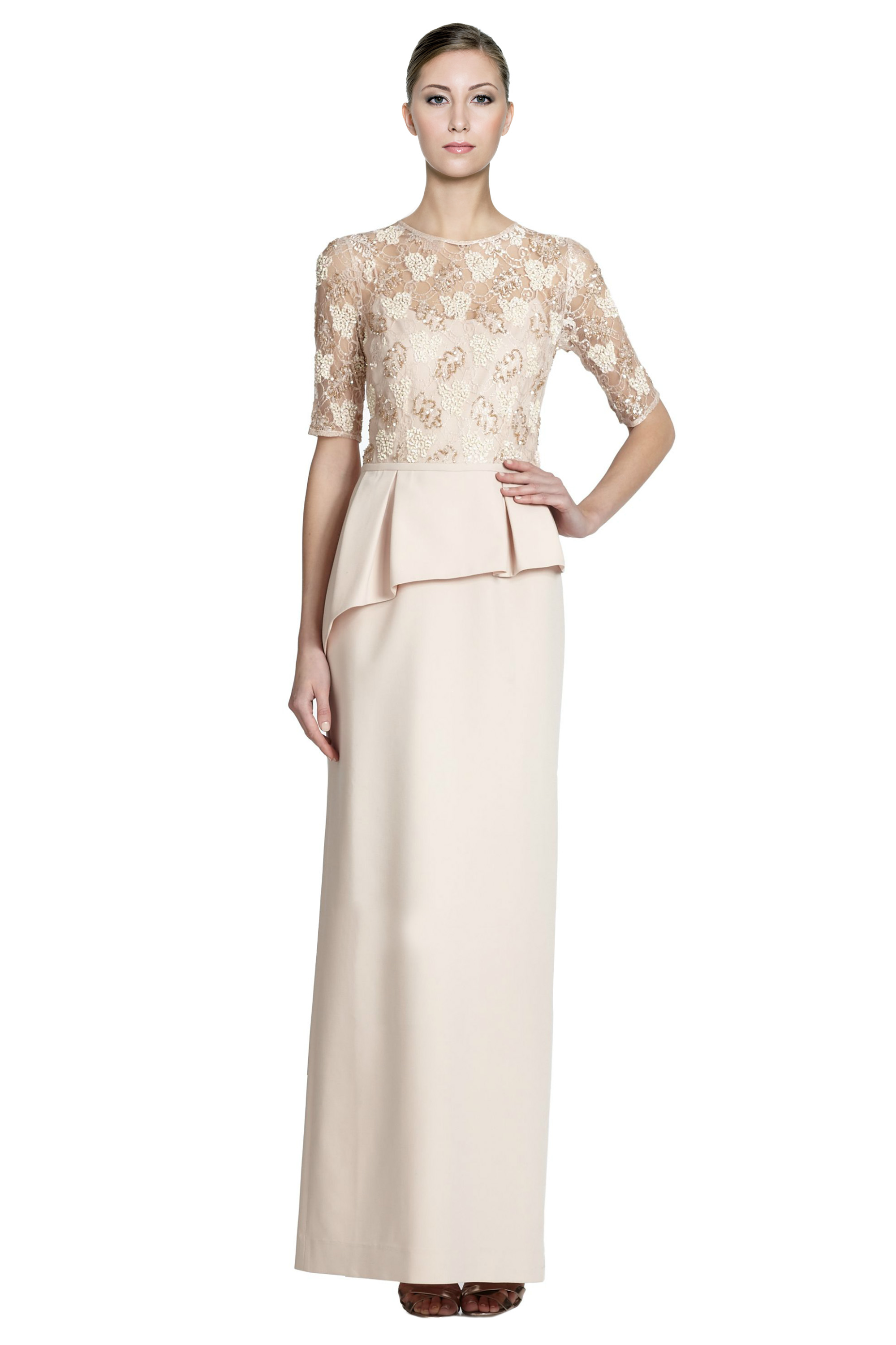 Teri Jon Champagne Embellished Lace Asymmetric Peplum Evening Gown ...