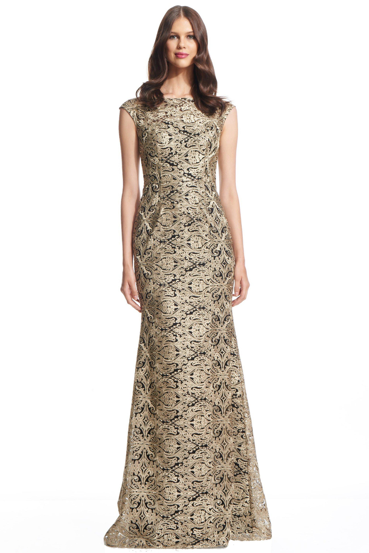 David Meister Gold Cap Sleeve Metallic Formal Evening Gown Dress 10 ...