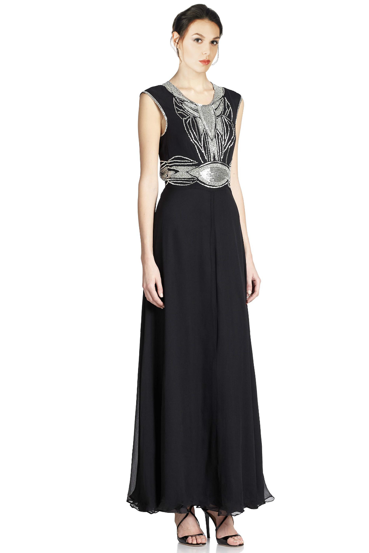 Parker Black Beaded Open Back Silk Evening Gown Dress 4 888585086448 ...