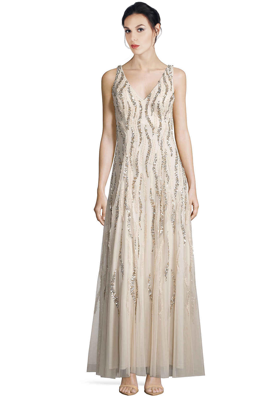 Aidan Mattox Champagne V-Neck Sequin Beaded Godet Evening Gown Dress ...