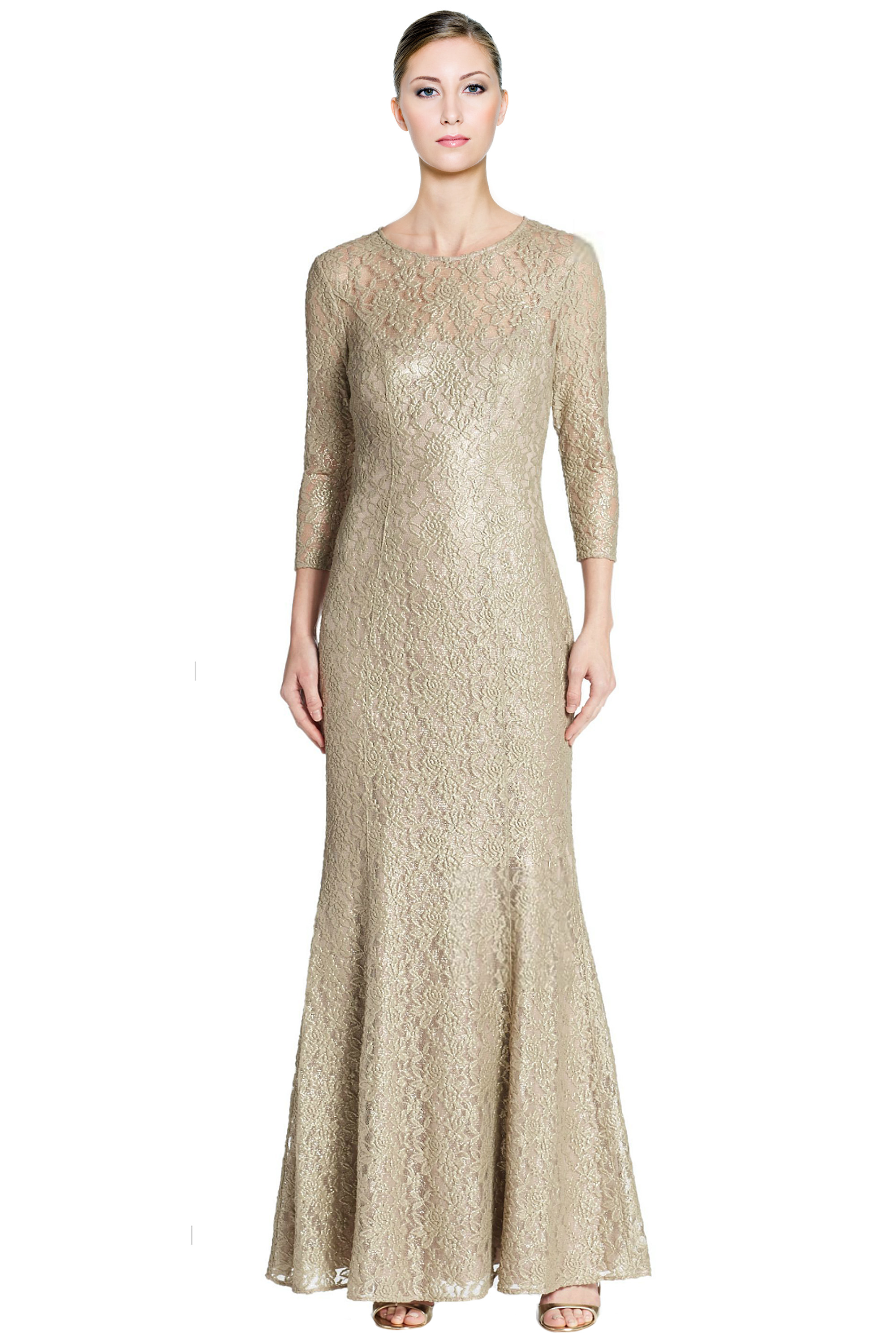 Kay Unger Platinum Three Quarter Sleeve Stretch Lace Evening Gown ...