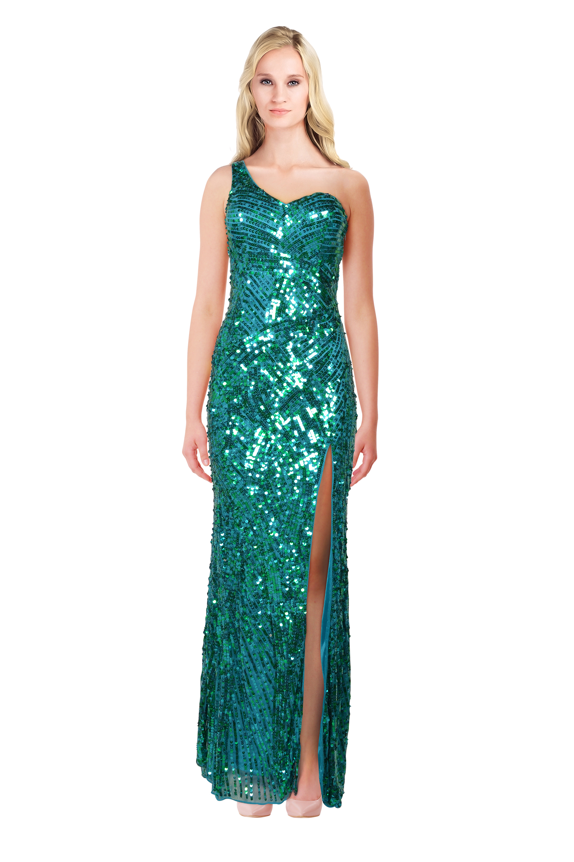 Mac Duggal Green Fully Sequined Front Slit Cutout Back Prom ...