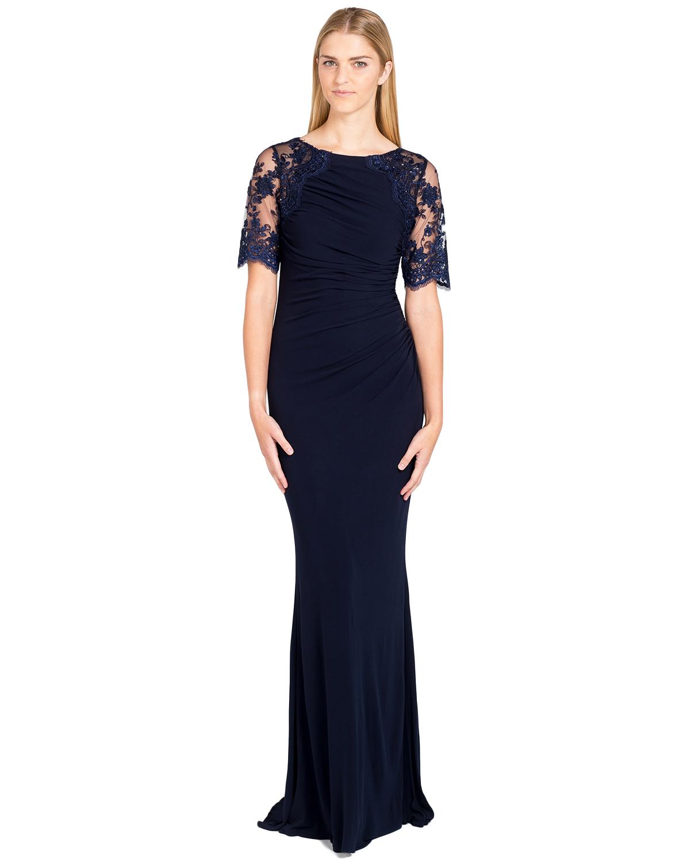Badgley Mischka Navy Blue Lace Jersey Shirred Evening Gown Dress 4 ...