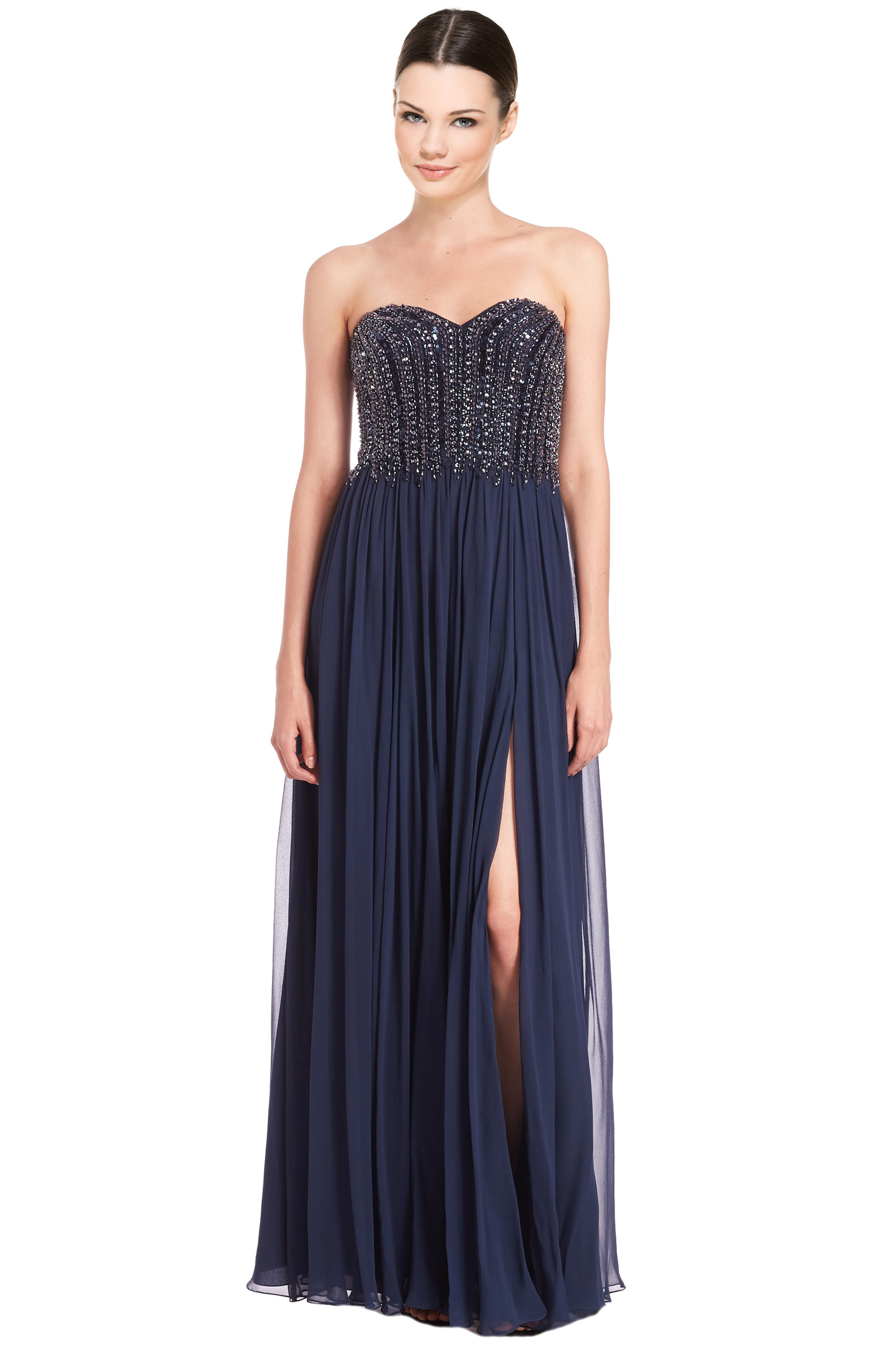 David Meister Navy Blue Strapless Beaded Bodice Chiffon Evening Gown ...