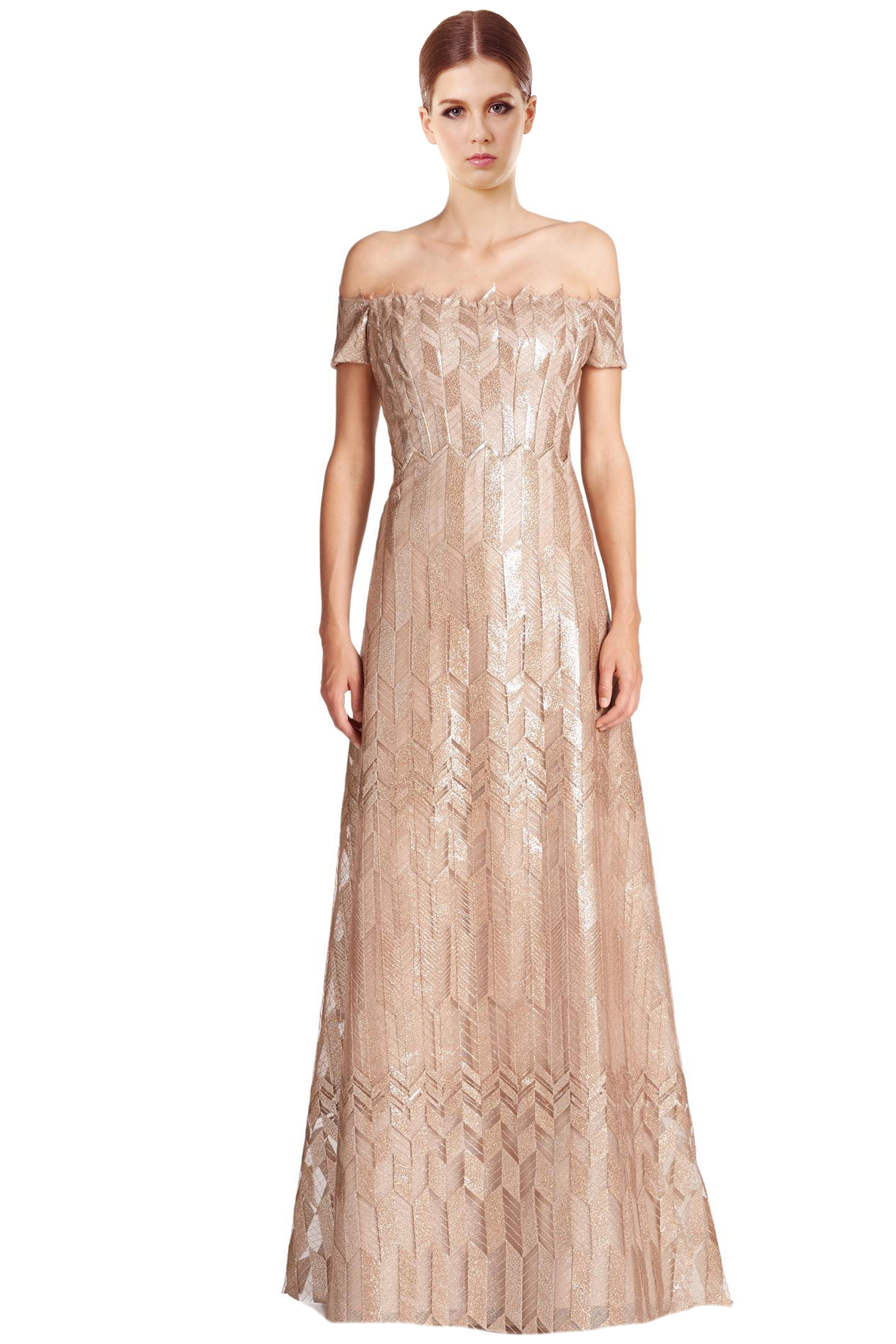 Rene Ruiz Gold Art Deco Cap Sleeve Zigzag Pattern Long Ball Evening ...