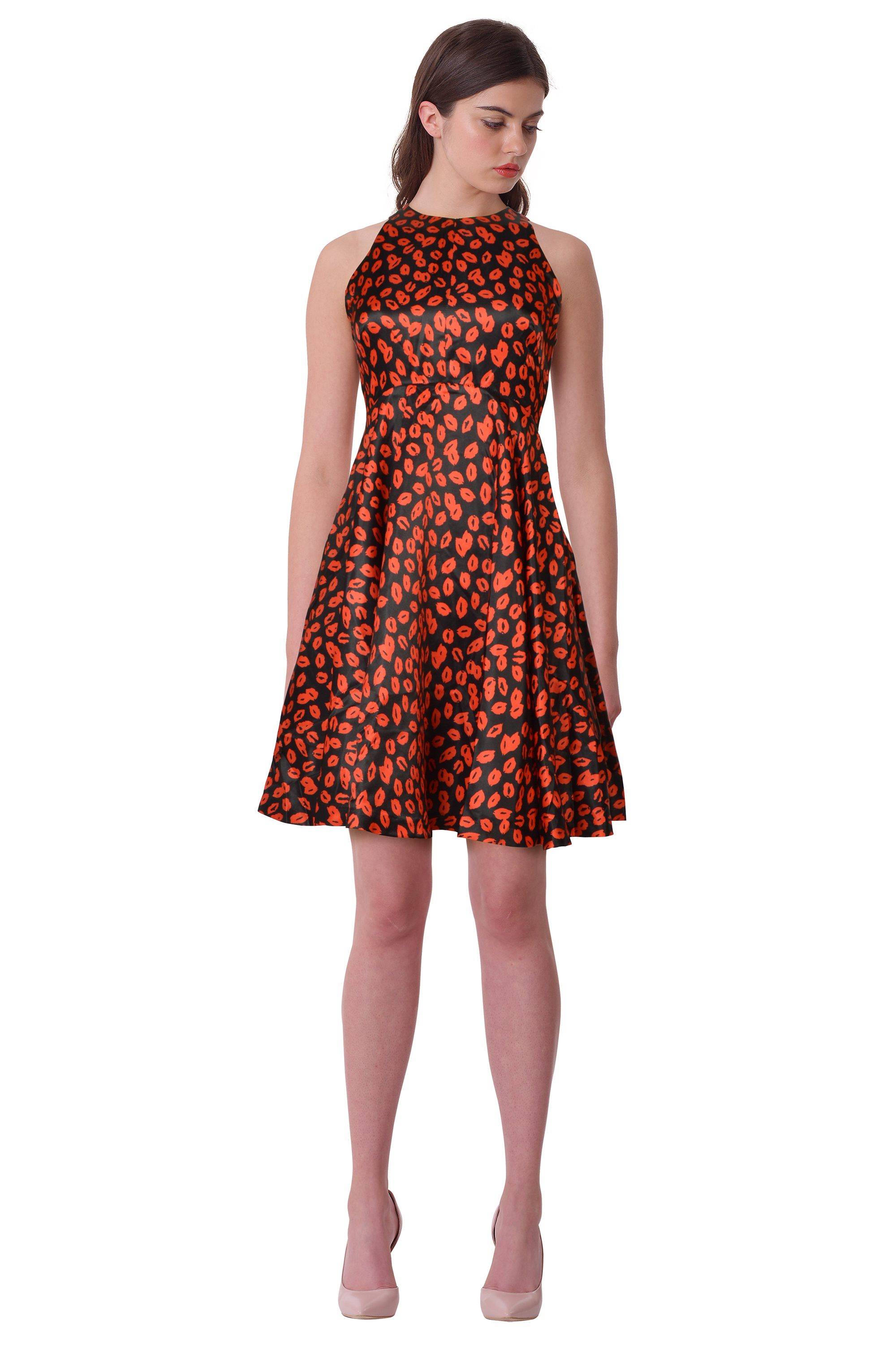 Details about RED Isabel by Isabel Garcia Red Kiss Print Flared Cocktail Evening Party Dress S