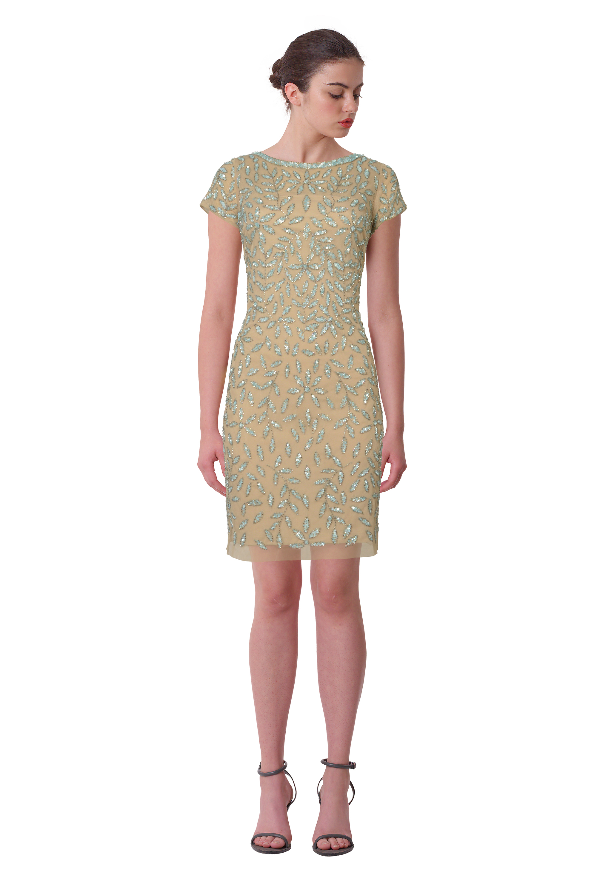 1bd93831535 Aidan Mattox Beaded Short Sleeve Illusion Neck Cocktail Eve Dress 10 ...