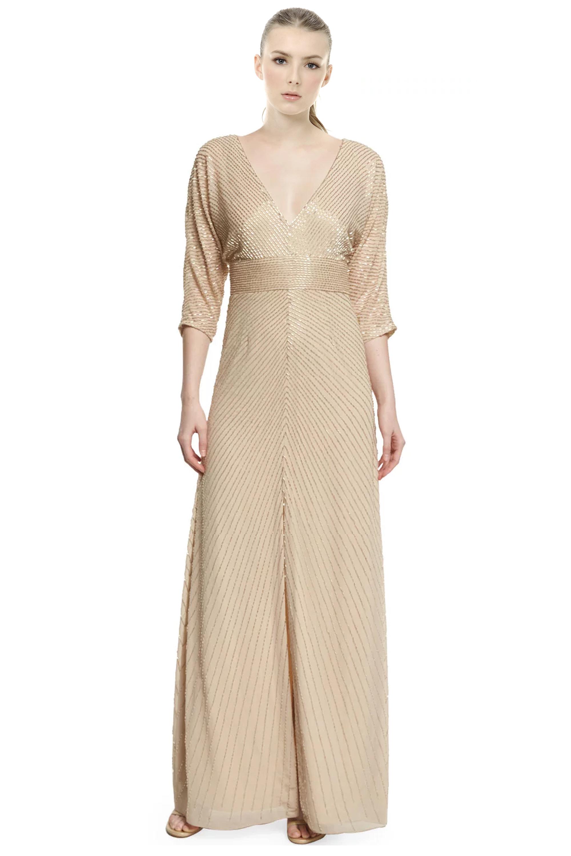 Aidan Mattox Light Gold Dolman Sleeve Beaded V-Neck Evening Gown ...
