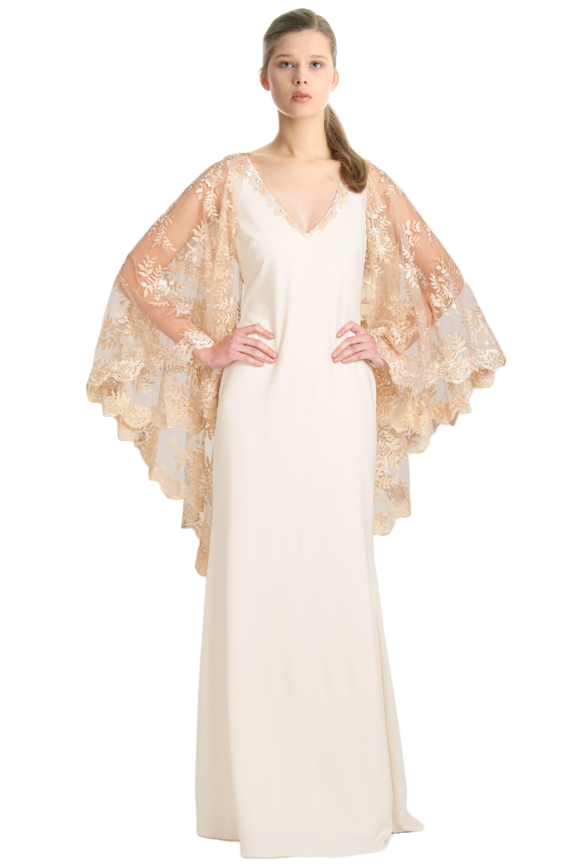 Badgley Mischka Ivory Metallic Lace Cape Sleeve Evening Gown Dress 2 ...