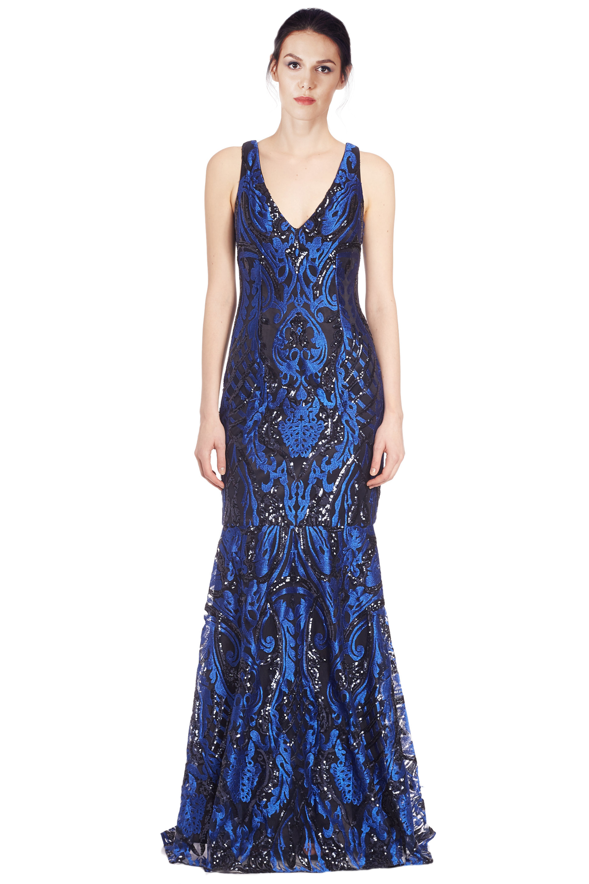 32b4790ad902 David Meister Blue Embroidered Sequin V-Neck Evening Gown Dress 2 ...