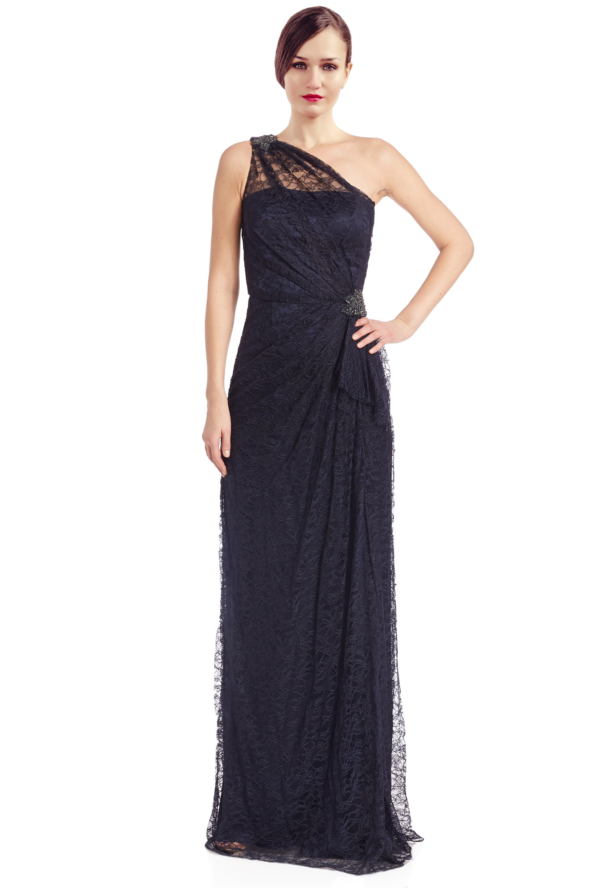 David Meister Navy Blue Lace Rhinestone One Shoulder ...