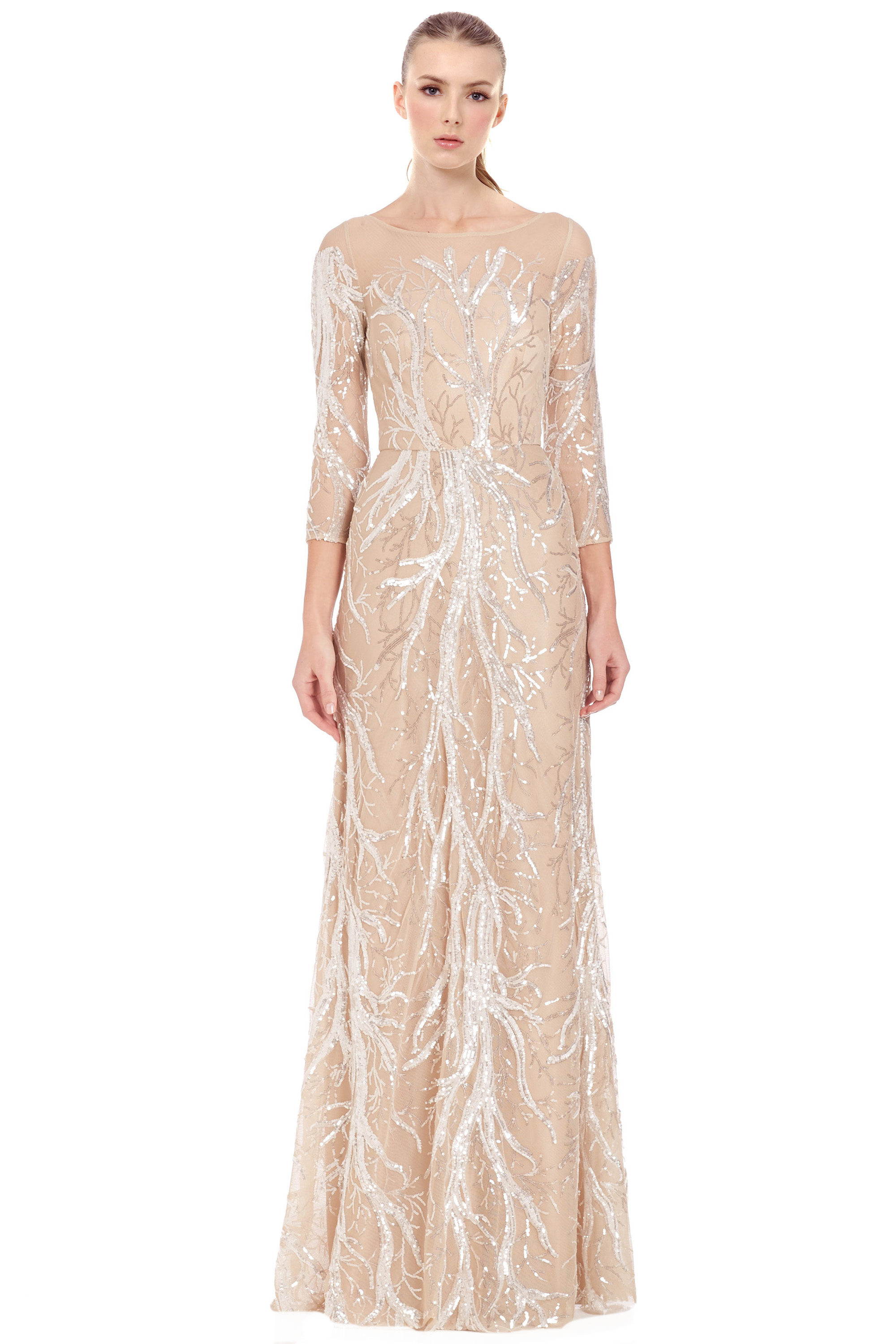 David Meister Nude Embroidered Sequin 3/4 Sleeve Evening Ball Gown ...