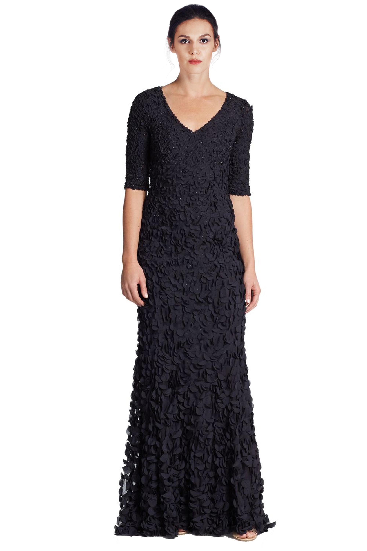 Theia Midnight Blue Petal Elbow Sleeve V-Neck Evening Gown Dress 4 ...