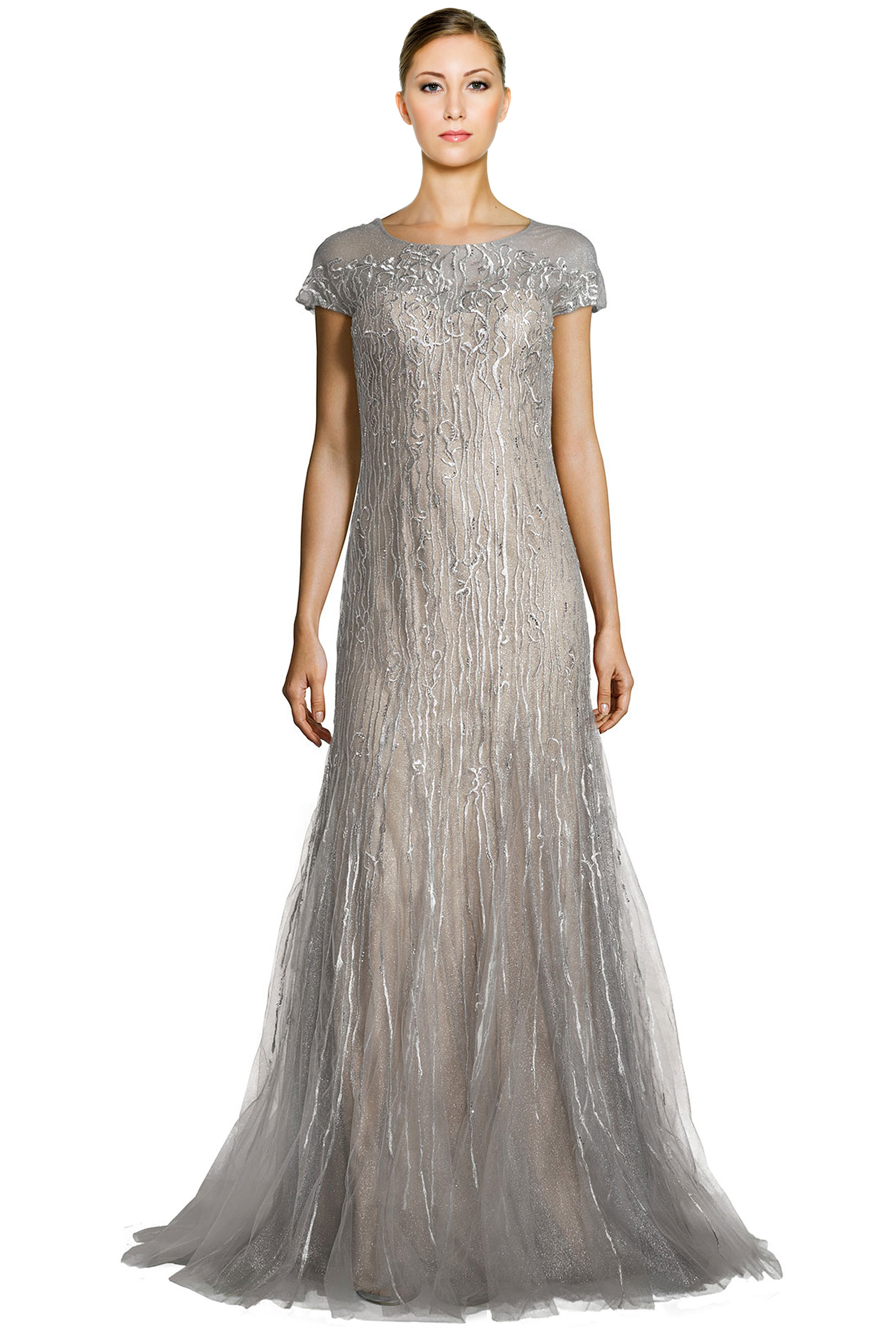 Rene Ruiz Silver Embellished Tulle Illusion Godet Evening Gown Dress ...