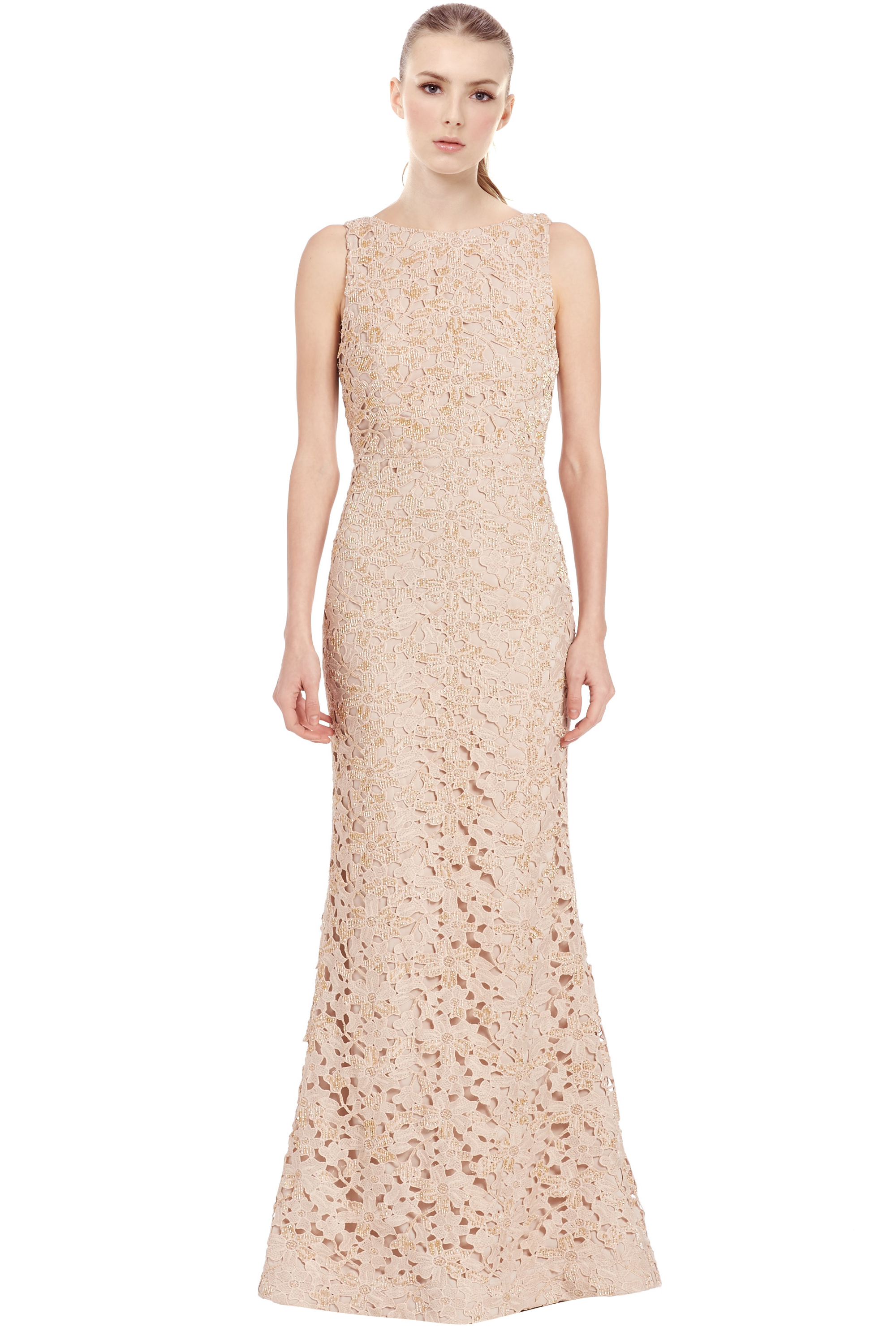 Alice & Olivia Nude Kacie Embroidered Beaded Lace Evening Gown Dress ...