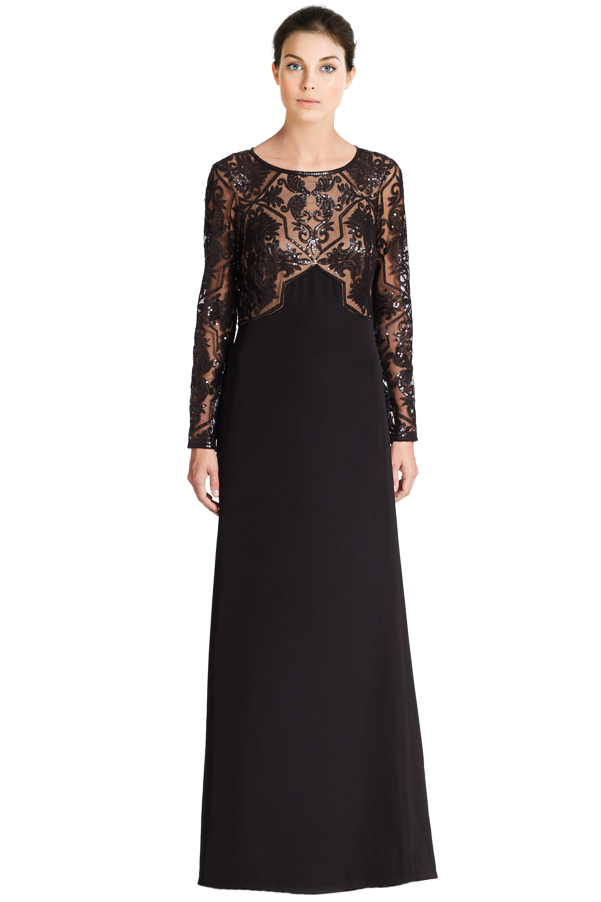 Tadashi Shoji Black Embellished Mesh Bodice Long Sleeve Evening Gown ...