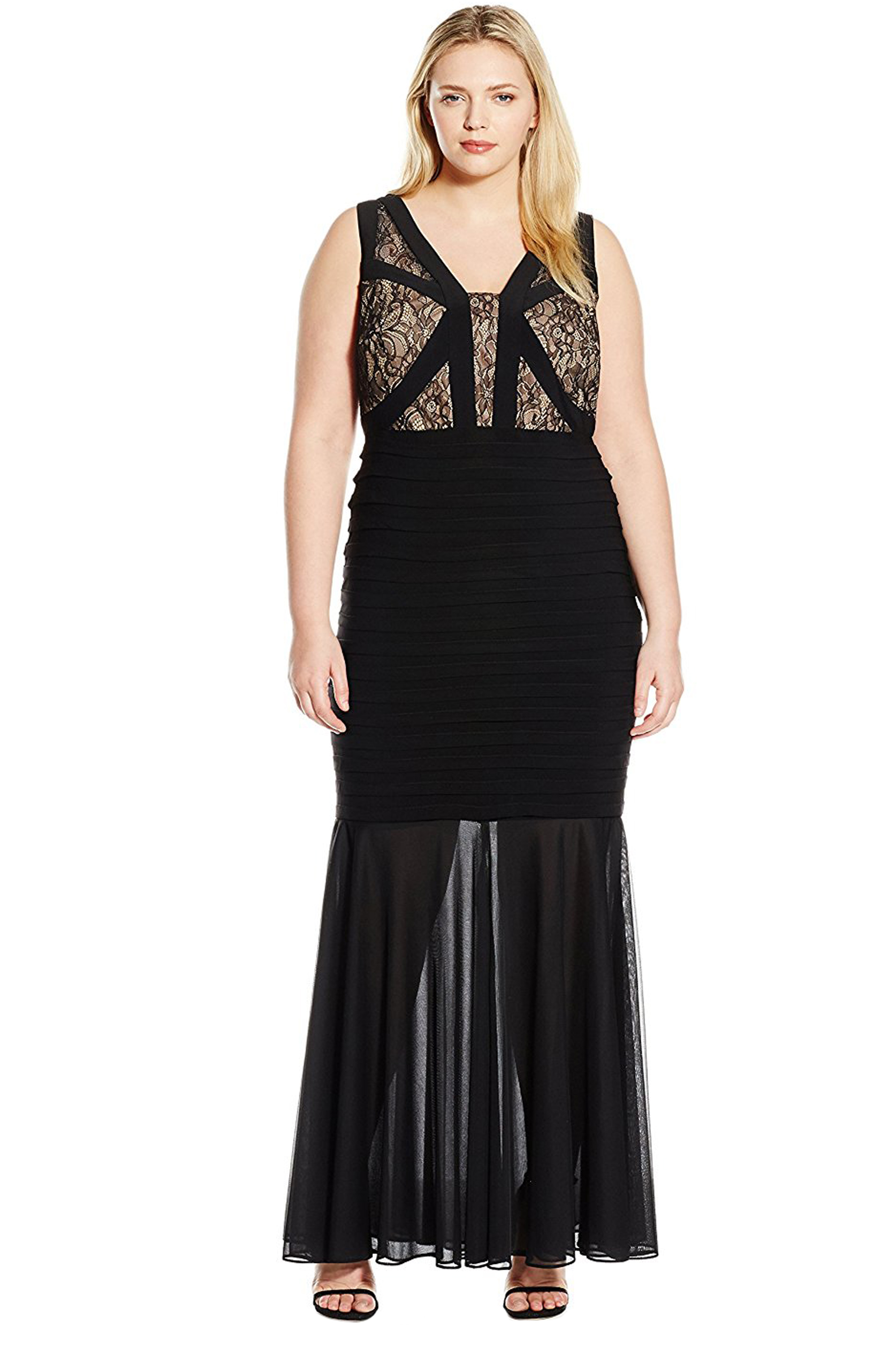 ff86256f Xscape Plus Size Black Lace Detail Shutter V-Neck Evening Gown Dress ...