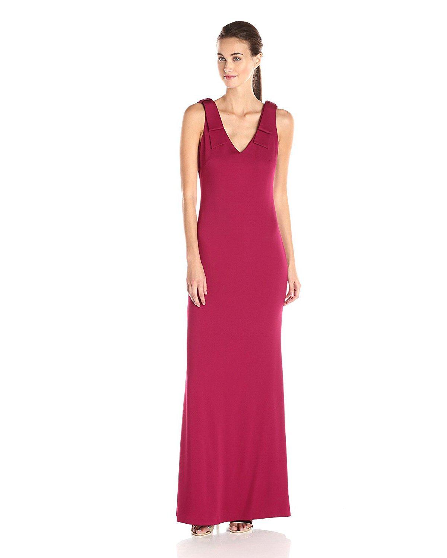 Nicole Miller Berry Stretch Crepe Bow Shoulder V-Neck Evening Gown ...