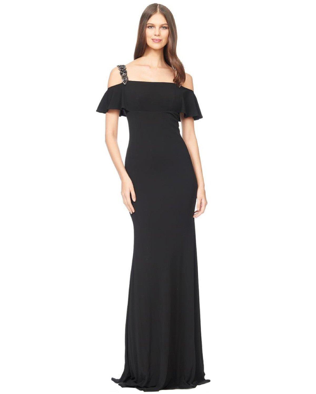 David Meister Black Cold Shoulder Beaded Jersey Evening Gown Dress 4 ...