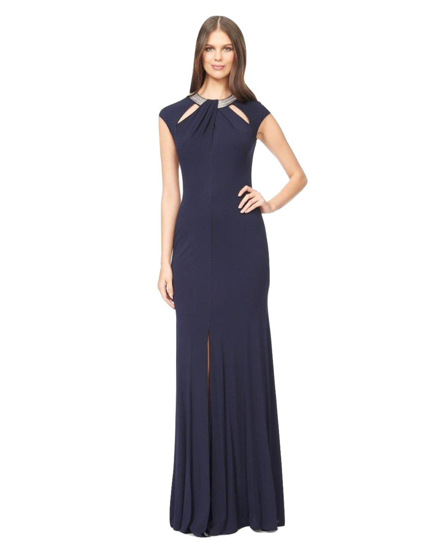 David Meister Navy Embellished Cutout Jersey Evening Gown Dress 10 ...