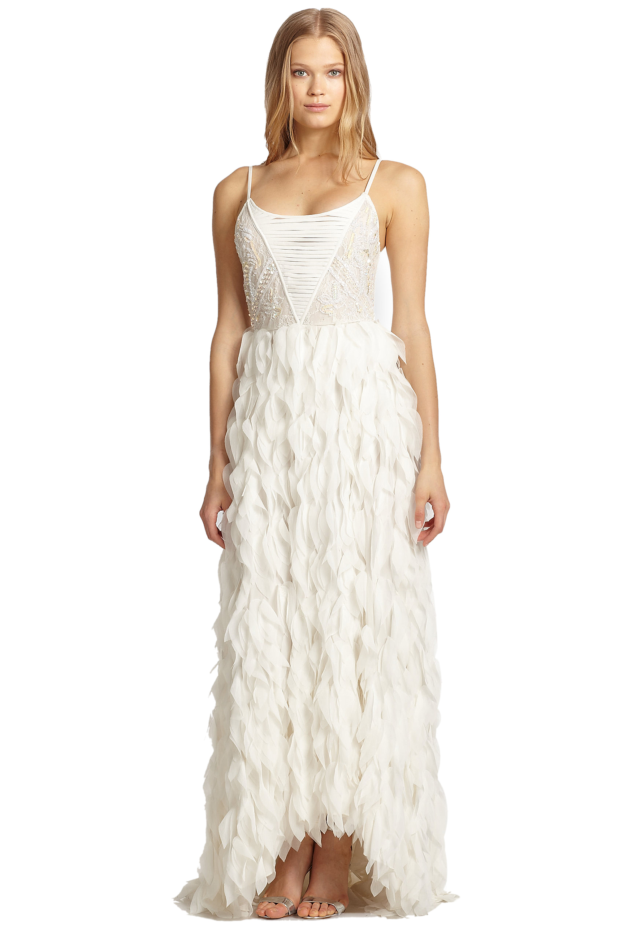 Alice & Olivia White Eaddy Embroidered Feather Evening Gown Dress 4 ...