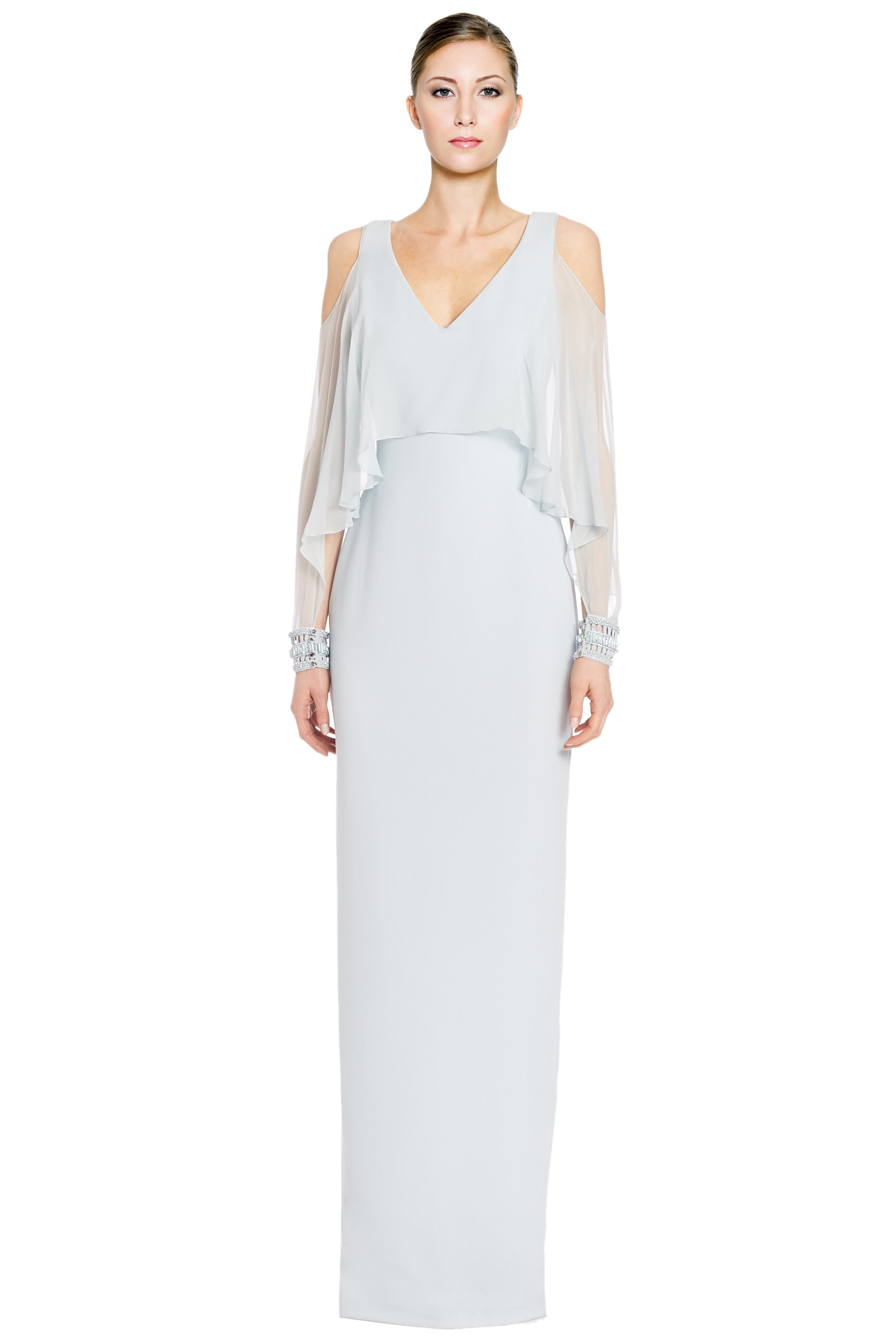 2eb1493bfd4 Badgley Mischka Blue Cold Shoulder Chiffon Cape Sleeve Evening Gown Dress 2