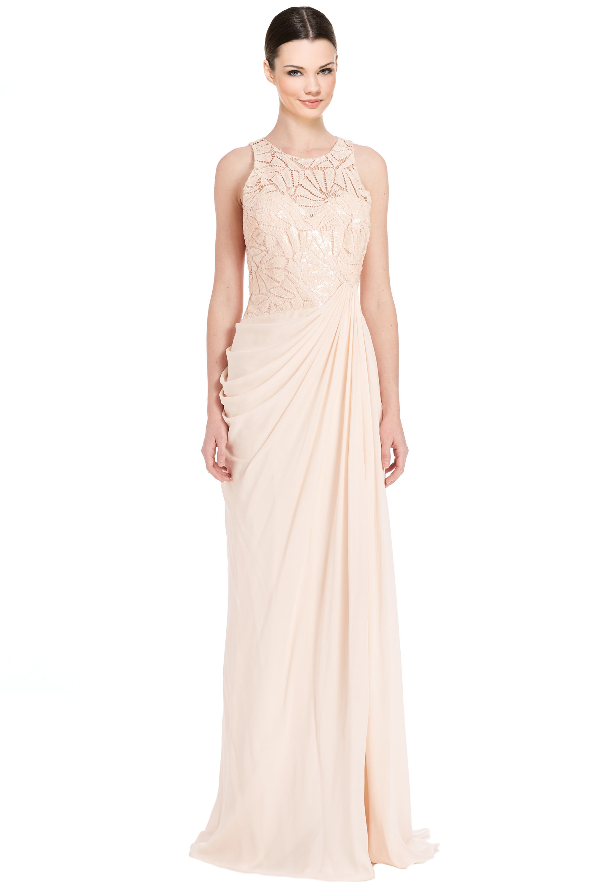 Badgley Mischka Blush Pink Draped Sequin Lace Evening Gown Dress 10 ...