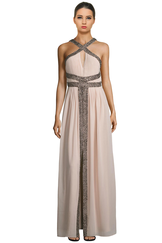 Parker Black Blush Kathy Beaded Keyhole Halter Evening Gown Dress 0 ...