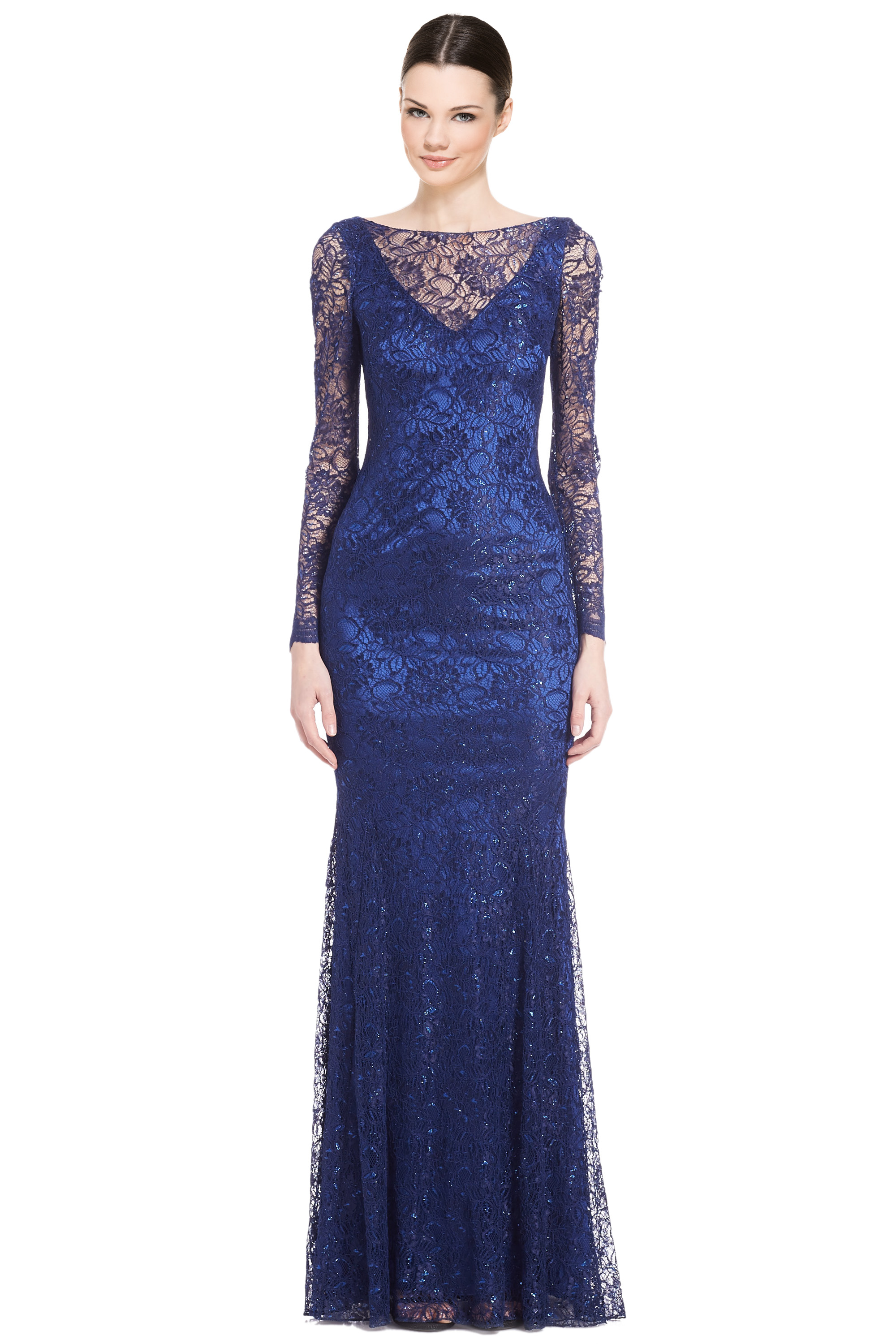 f75e0209 Theia Metallic Blue Lace Long Sleeve Evening Gown Dress 12 ...