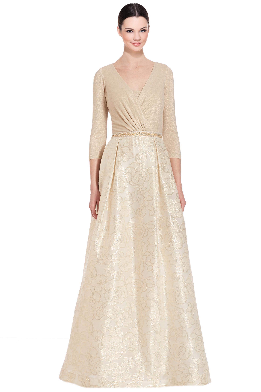 Teri Jon Metallic Gold 3/4 Sleeve Jacquard Ball Evening Gown Dress 6 ...