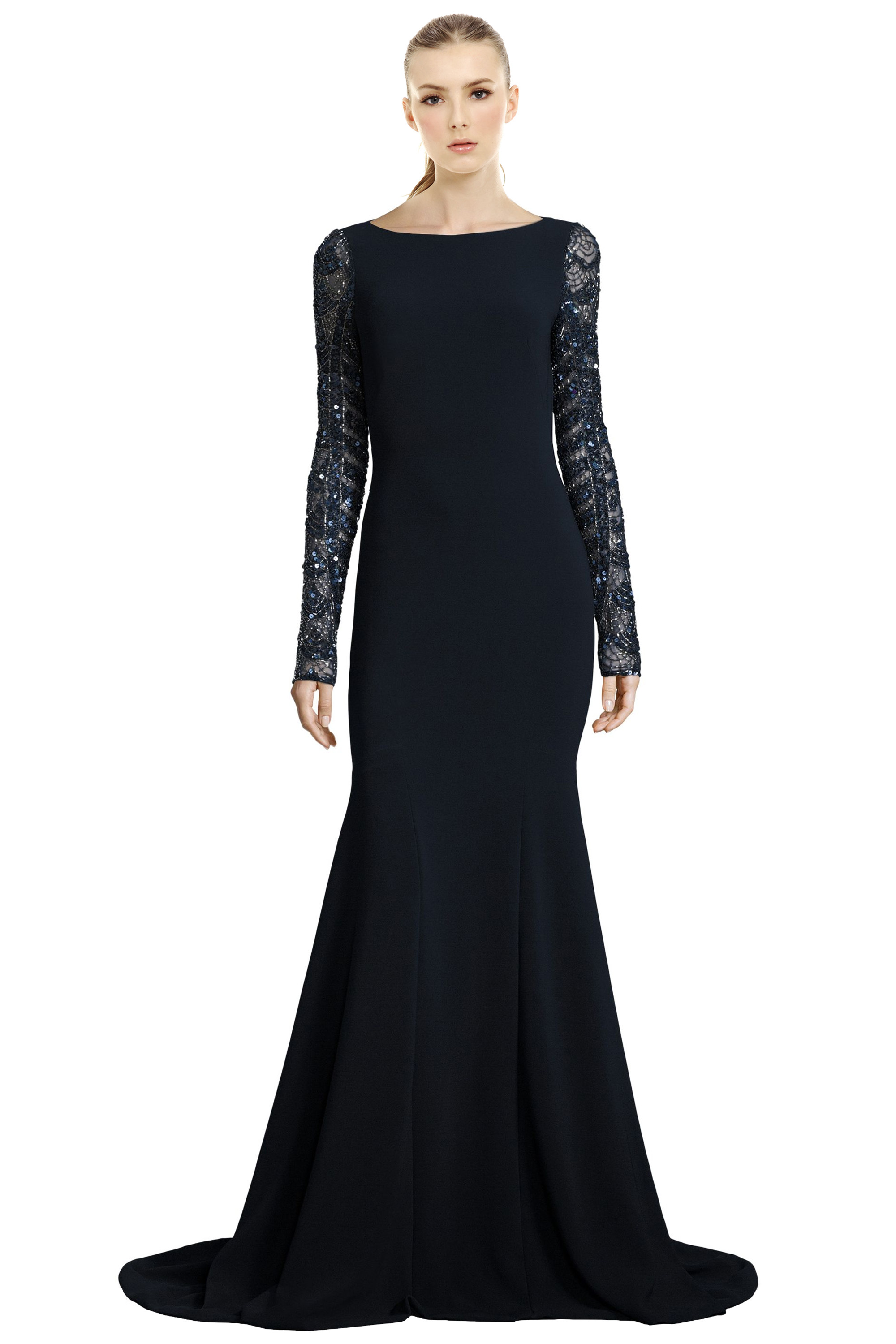 Theia Midnight Blue Sequined Long Sleeve Mermaid Evening Gown Dress ...