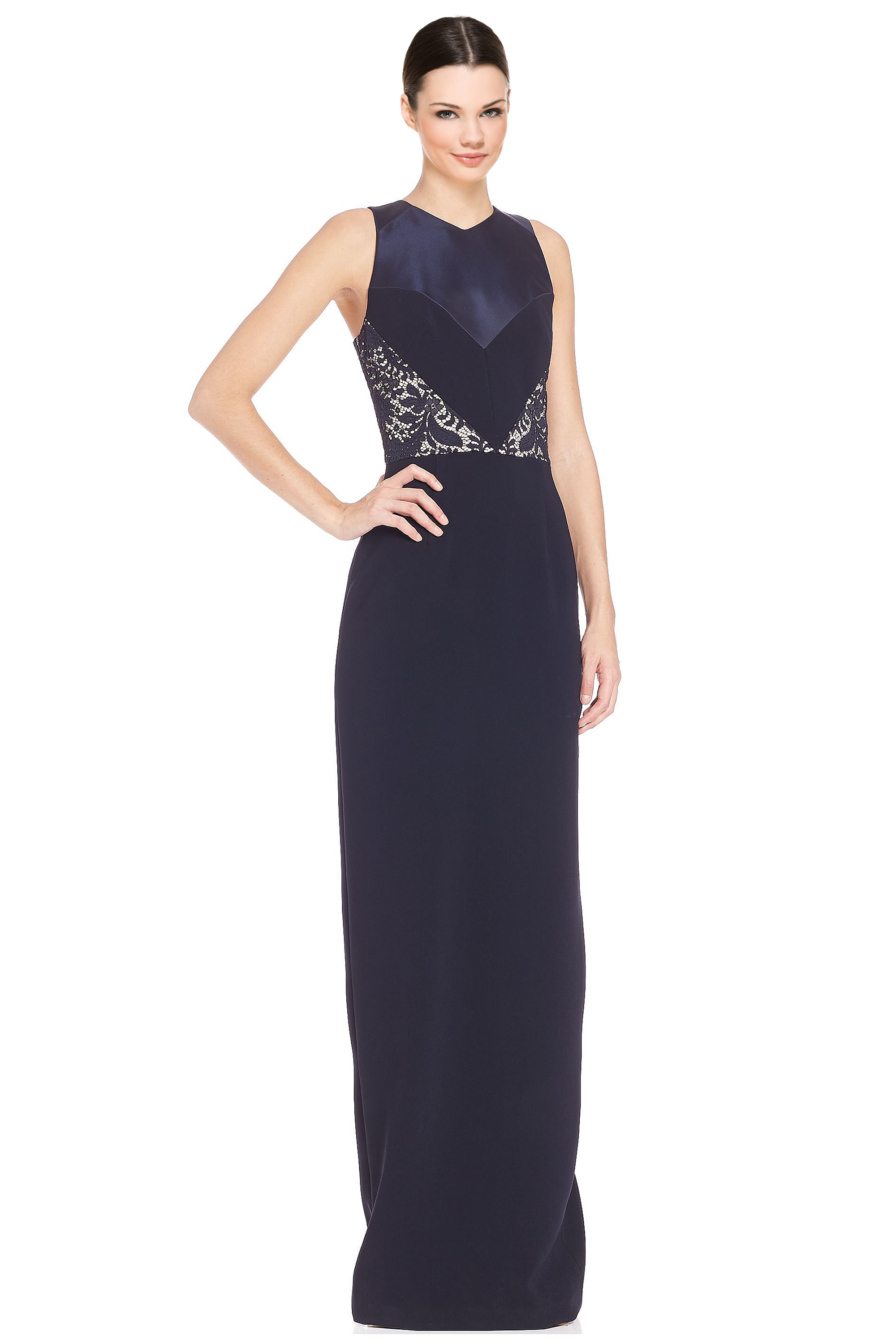 Theia Midnight Blue Lace Inset V-Neck Column Evening Gown Dress 12 ...