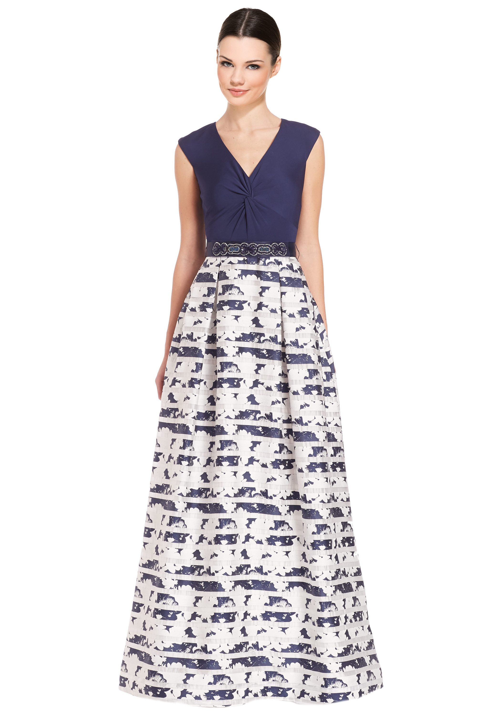 029a28f08368f Teri Jon Navy Knot Front V-Neck Printed Ball Evening Gown Dress 8 ...